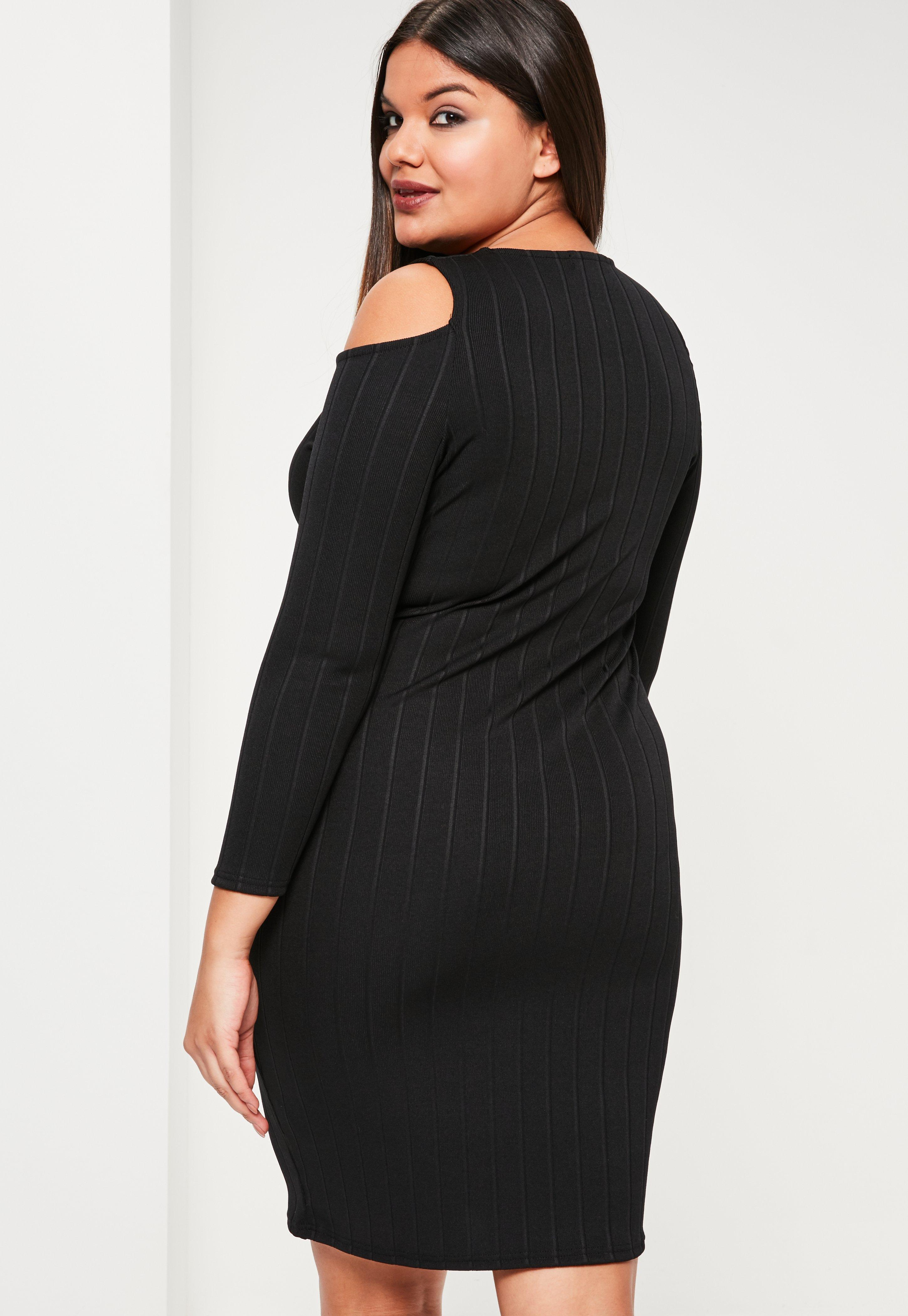 Lyst Missguided Plus Size Black Ribbed Cold Shoulder