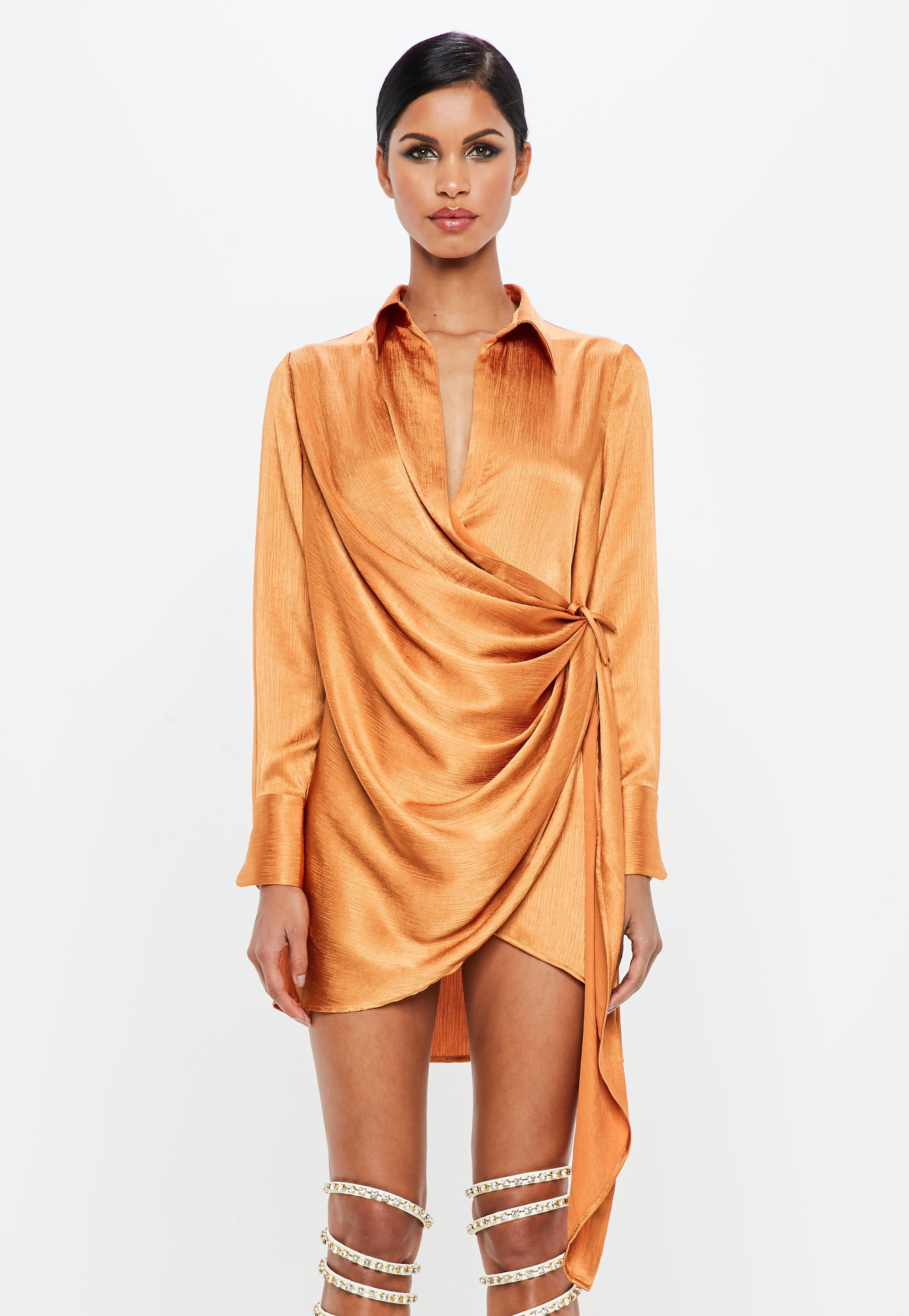 dde6c50f314b Lyst - Missguided Peace + Love Orange Textured Satin Wrap Dress in ...