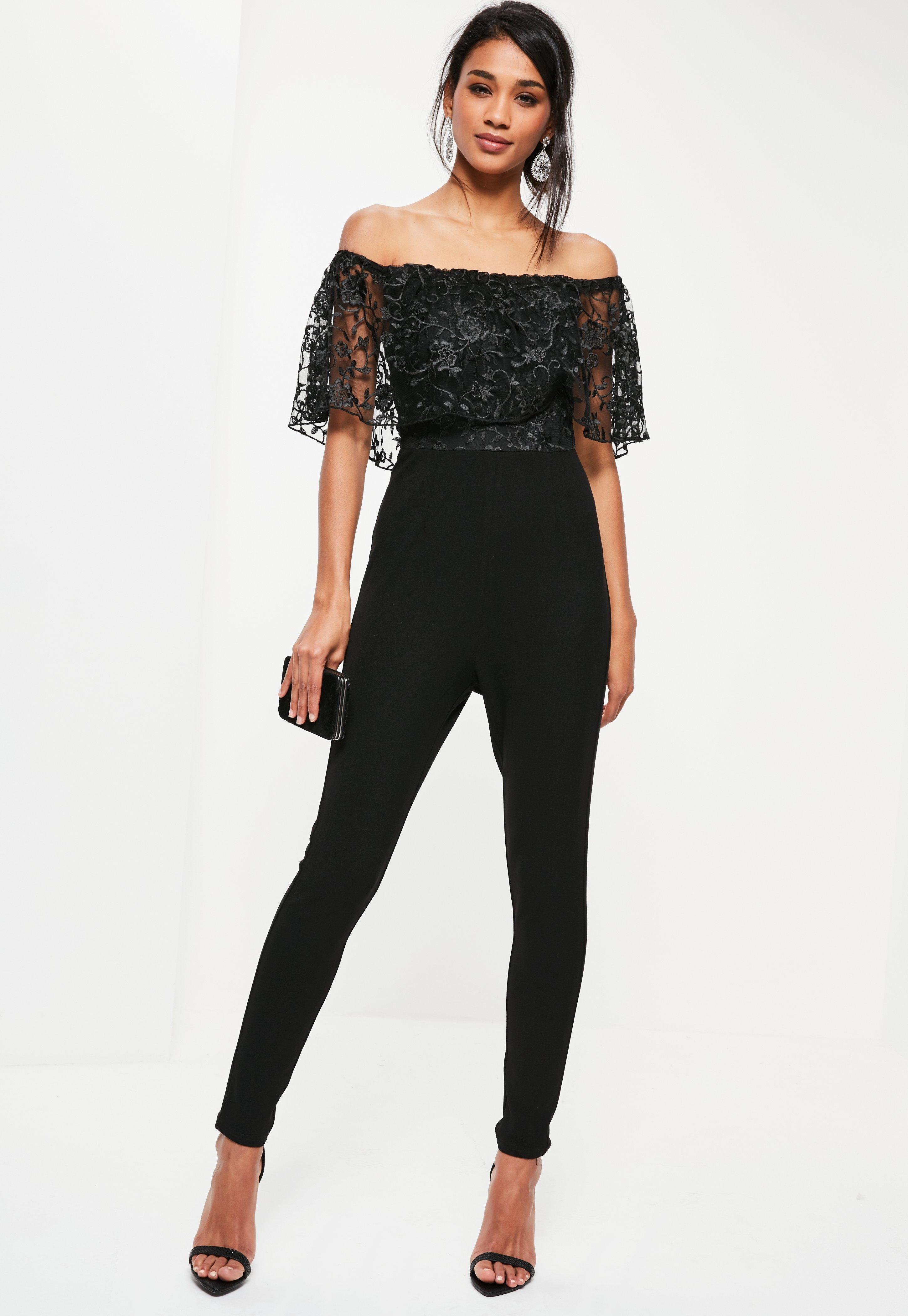 Missguided Petite Black Floral Lace Top Bardot Jumpsuit In