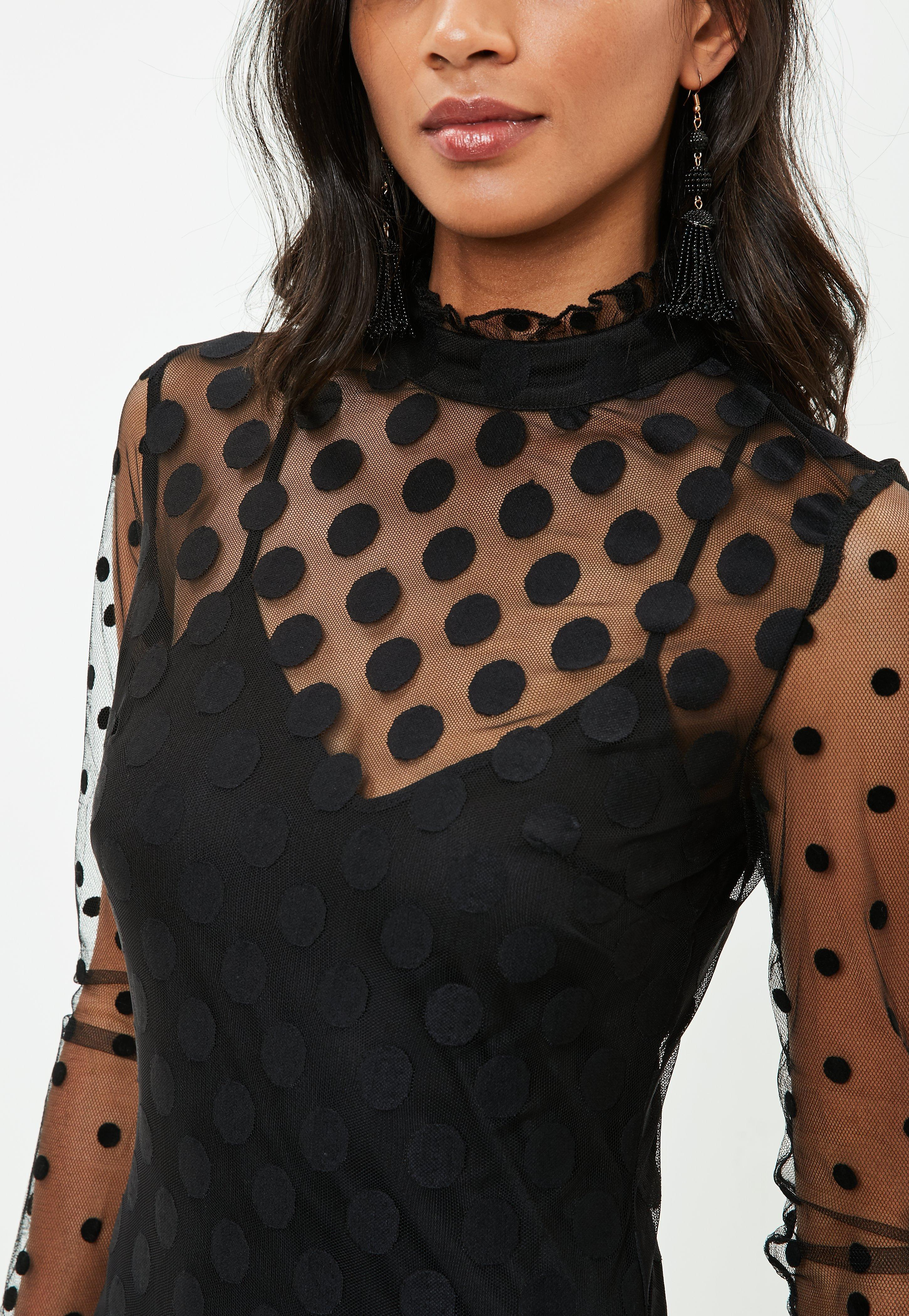 Missguided Synthetic Black Polka Dot Mesh High Neck Mini