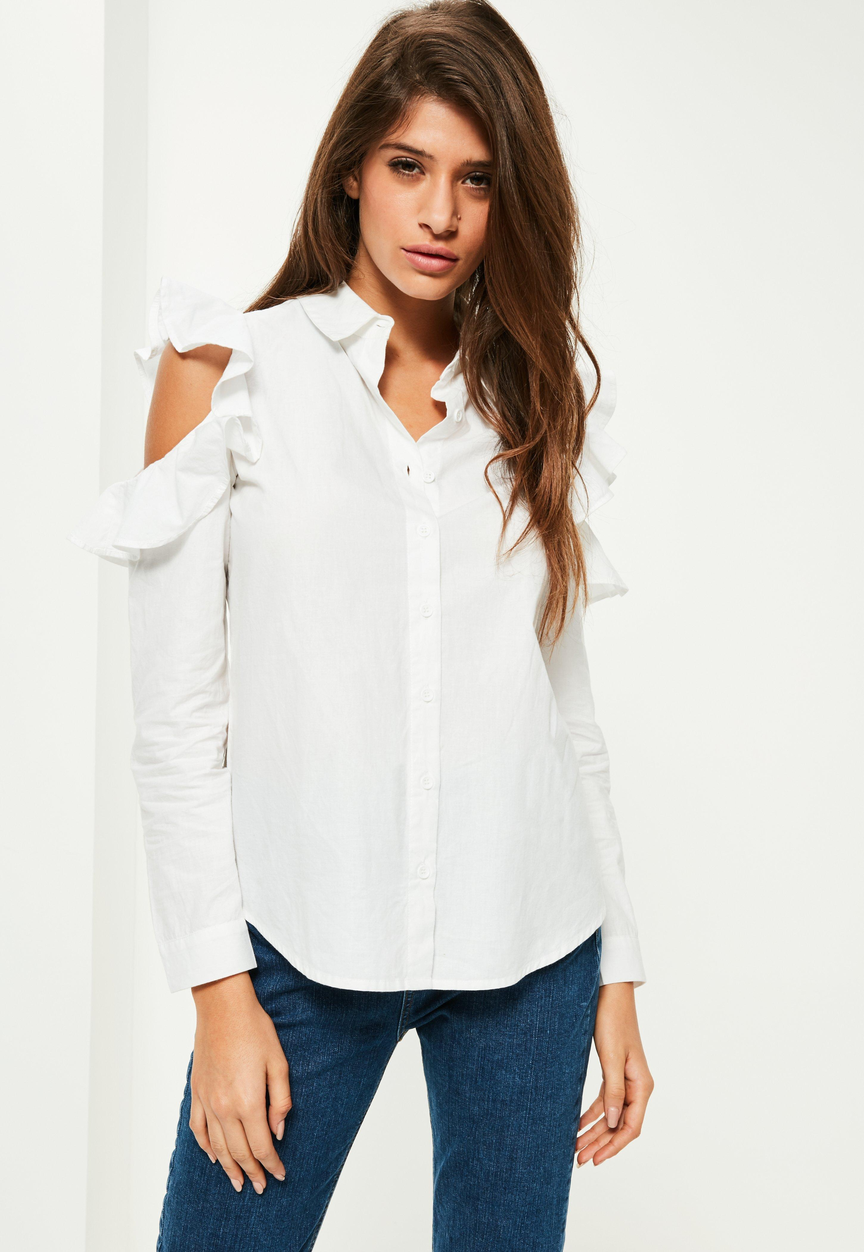 Missguided Petite White Frill Cold Shoulder Shirt In White