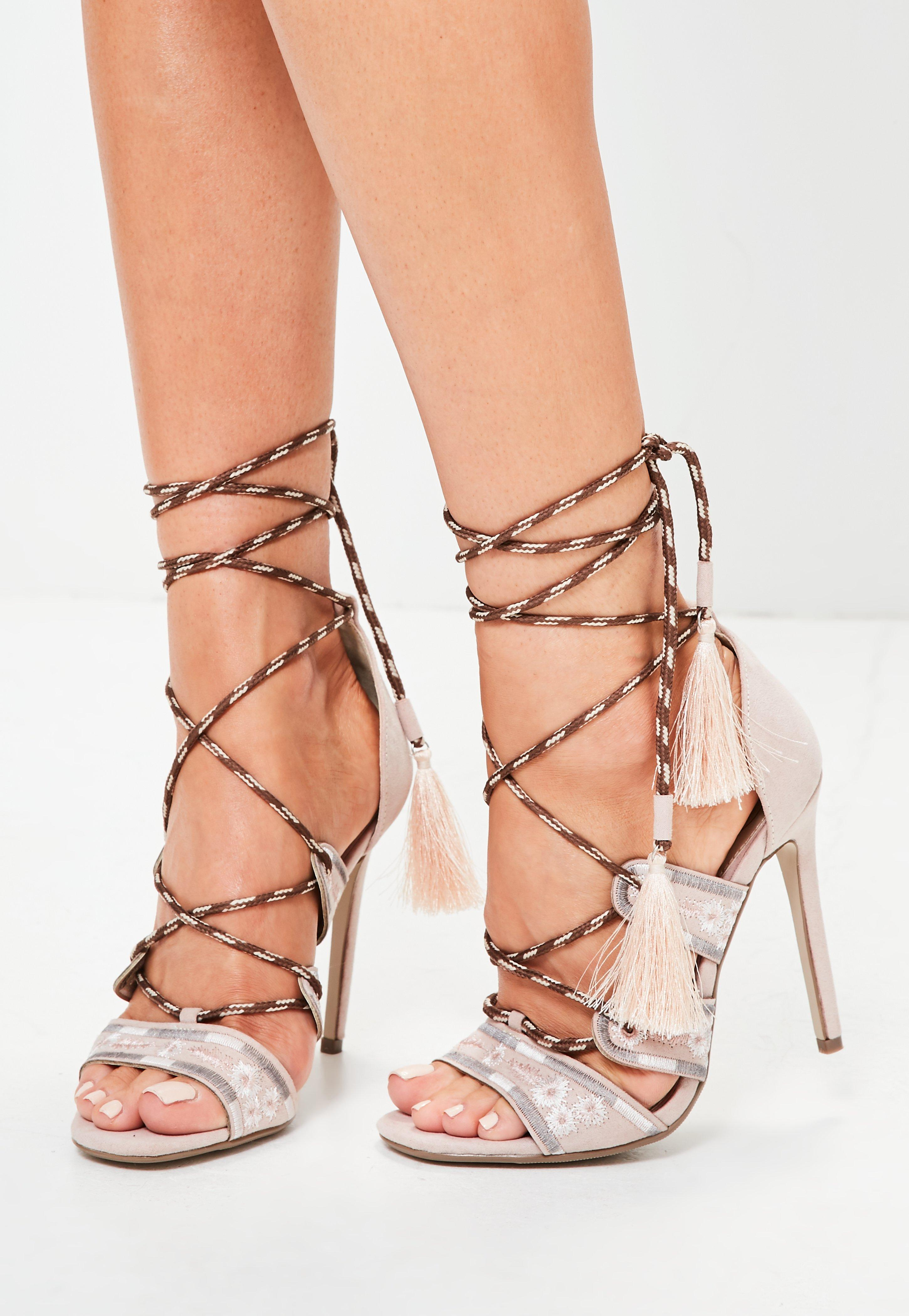 c828db14a49 Lyst - Missguided Nude Embroidered Lace Up Gladiator Heels in Natural