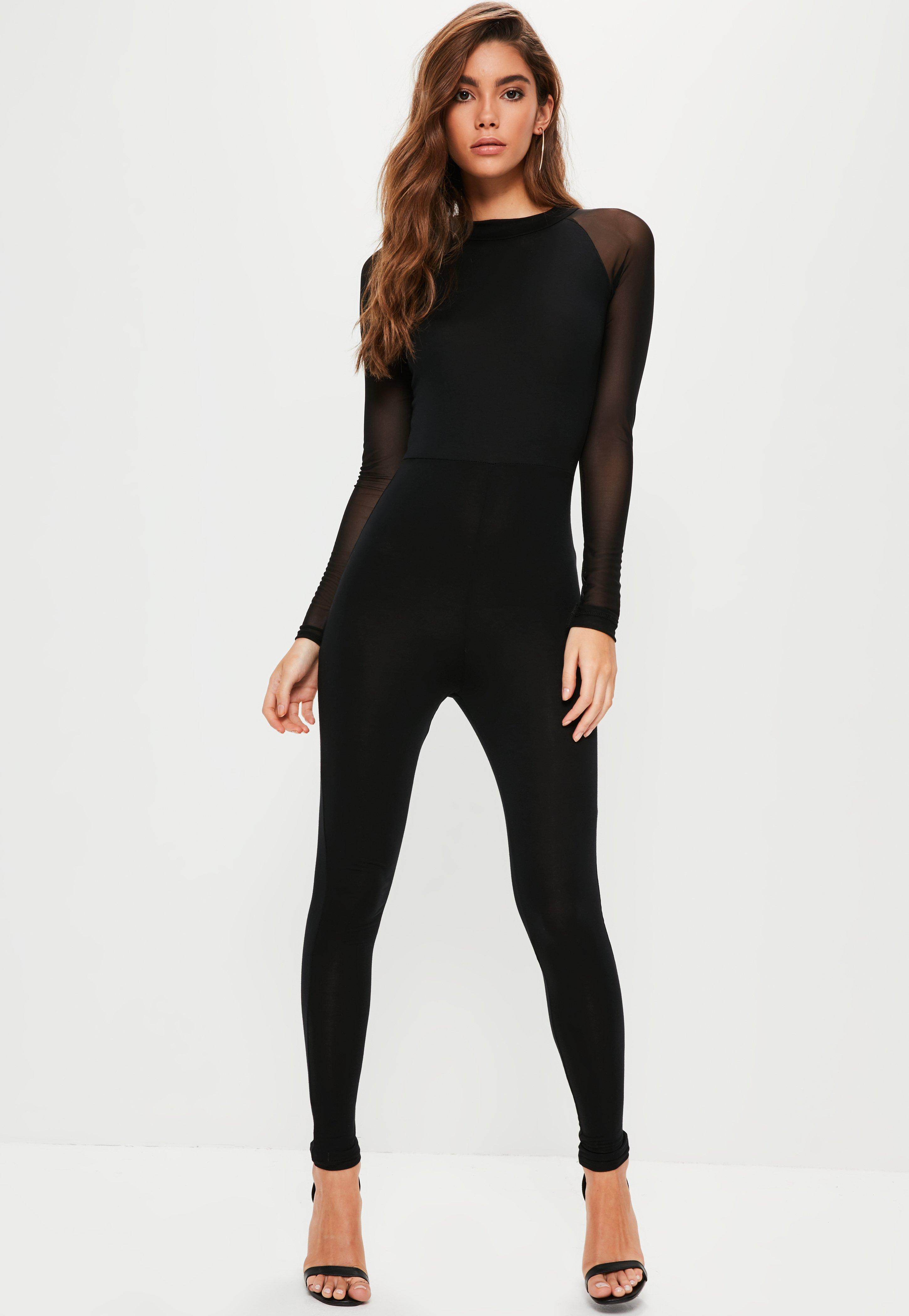 Missguided Black Mesh Sleeve Jersey Unitard Jumpsuit in ...