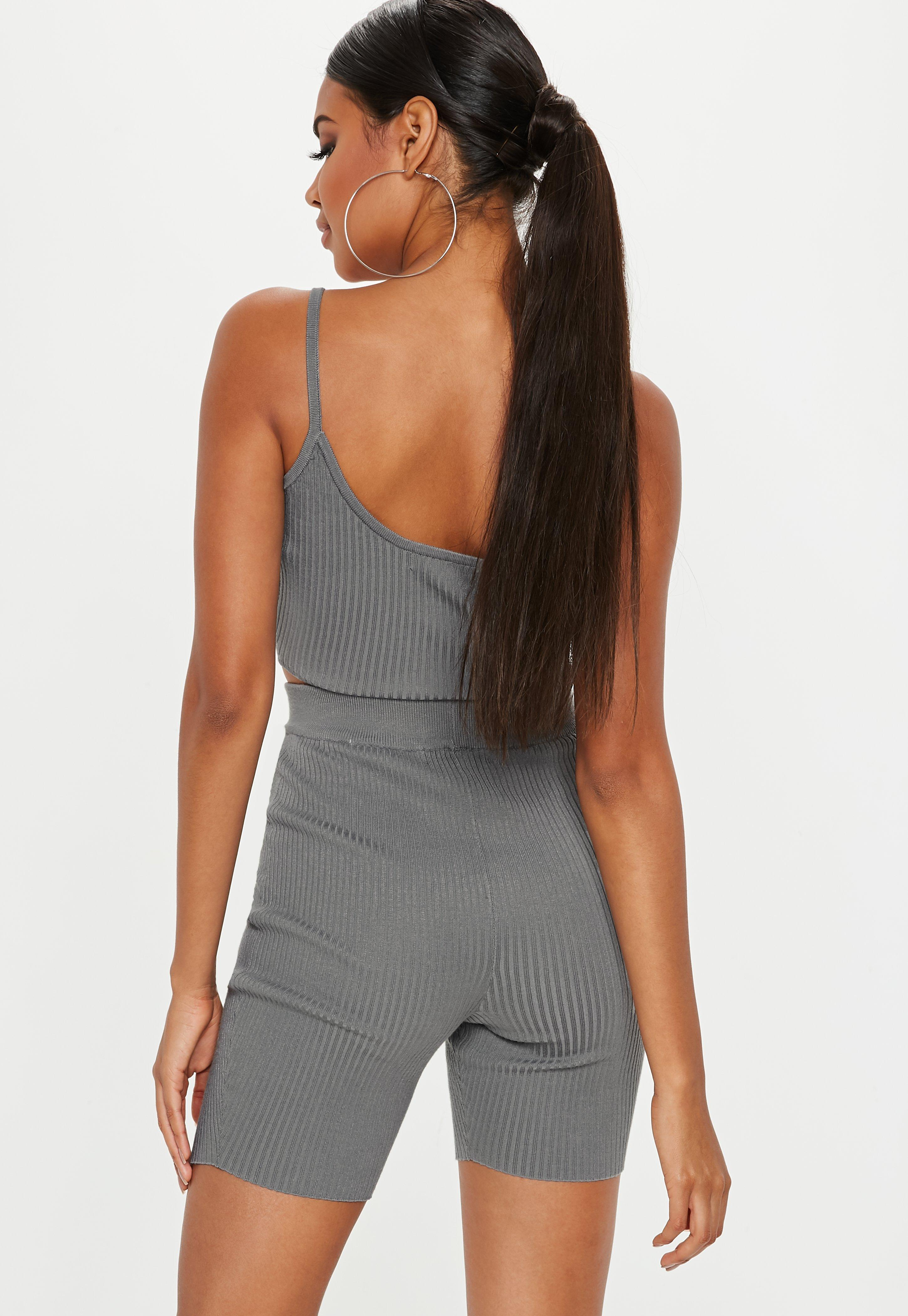 8fc1951d369 Lyst - Missguided Gray Strappy Knitted Ribbed Crop Top in Gray ...