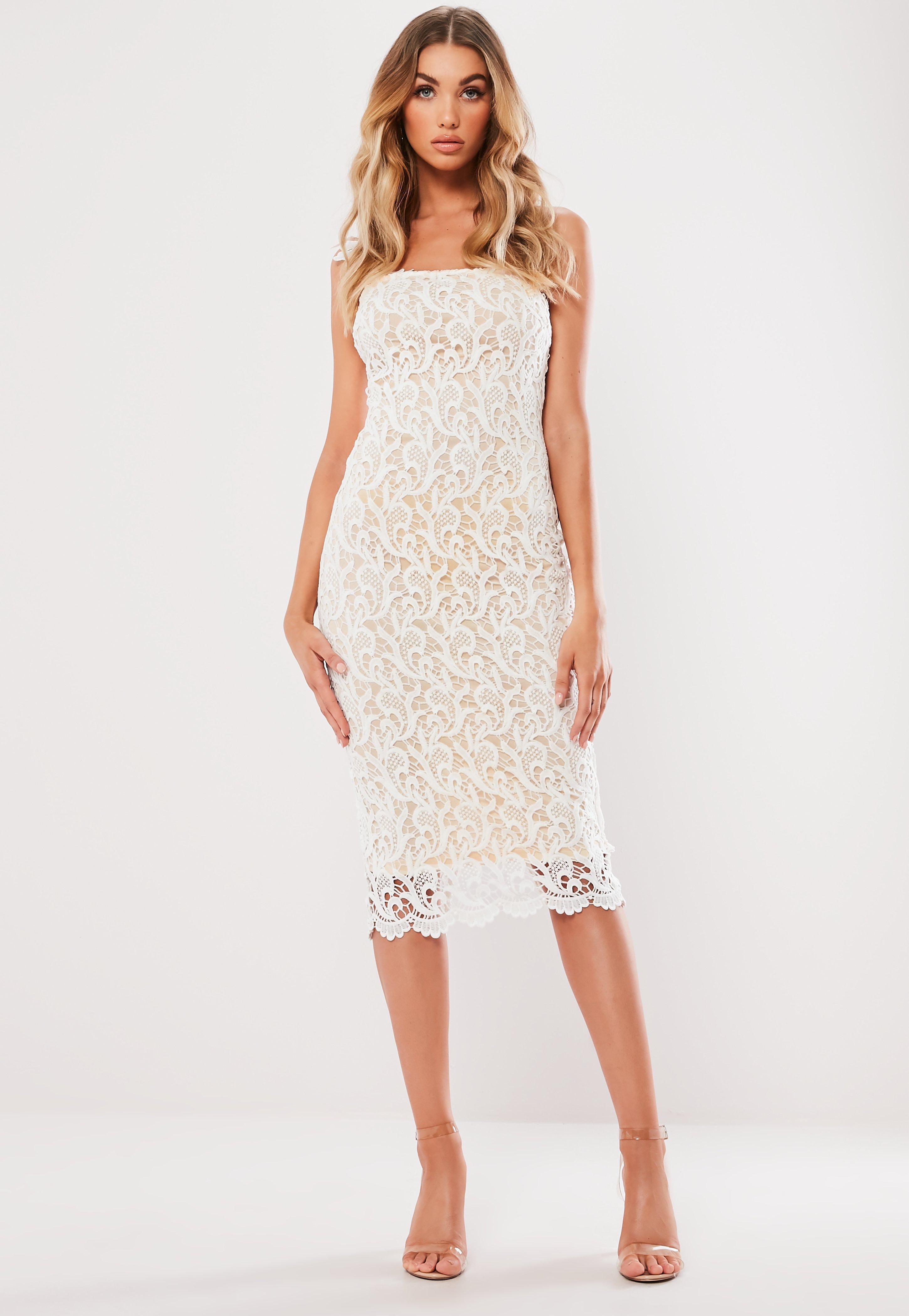8a6f001f248 Missguided - White One Shoulder Crochet Midi Dress - Lyst. View fullscreen