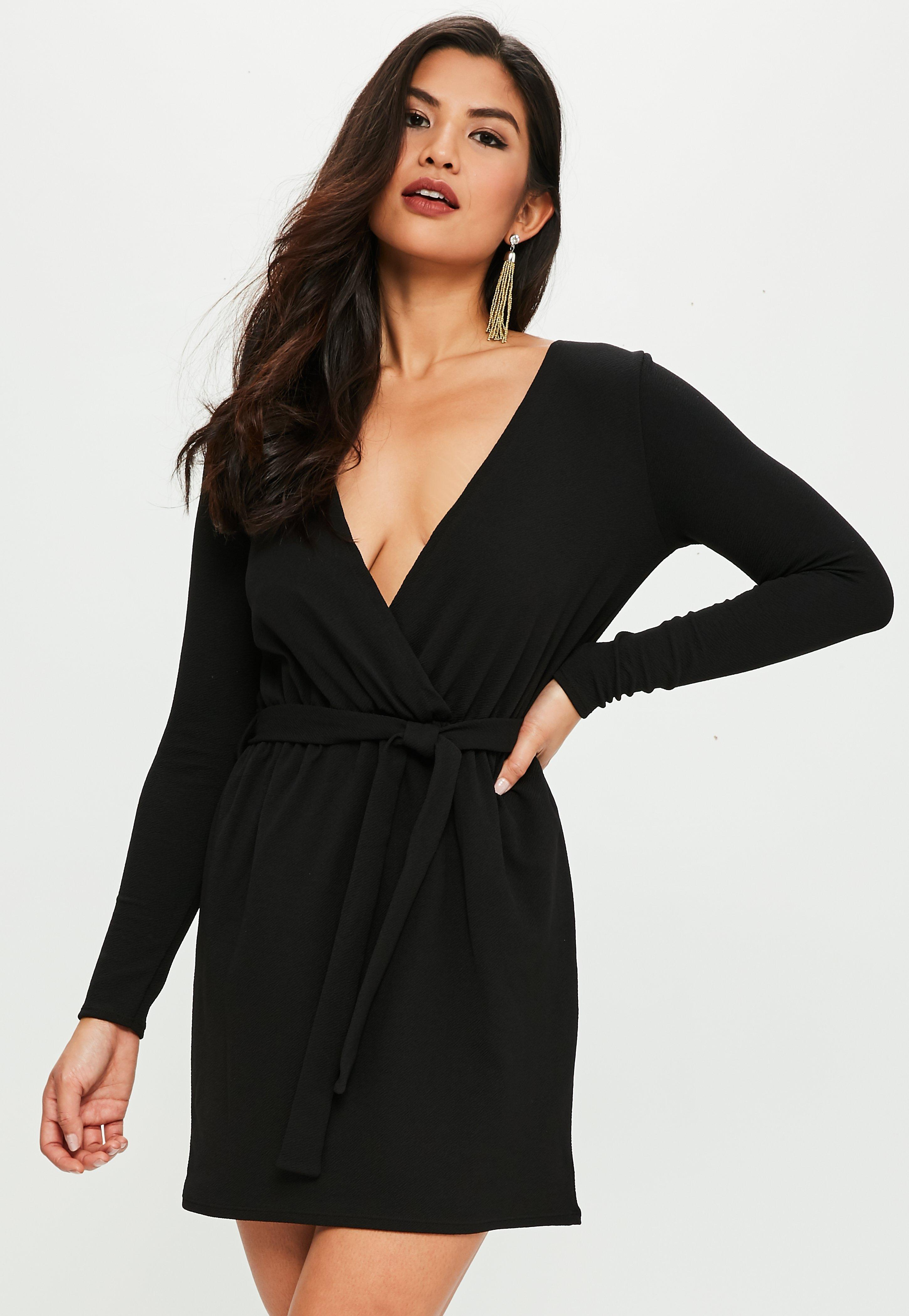 Missguided Black Stretch Long Sleeve Plunge Wrap Dress In