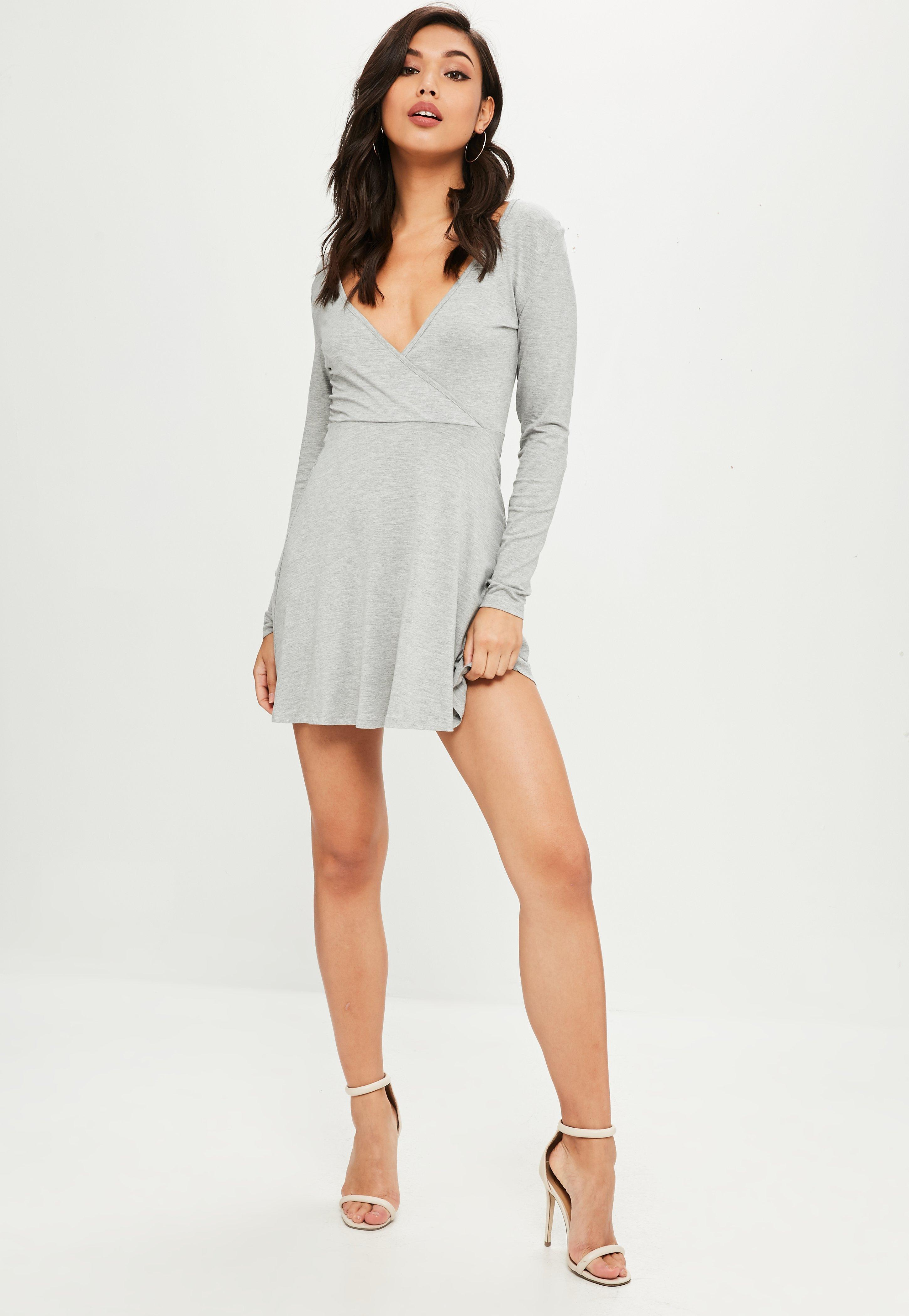 Lyst - Missguided Grey Long Sleeve Jersey Wrap Skater Dress in Gray 4d7d58ca6