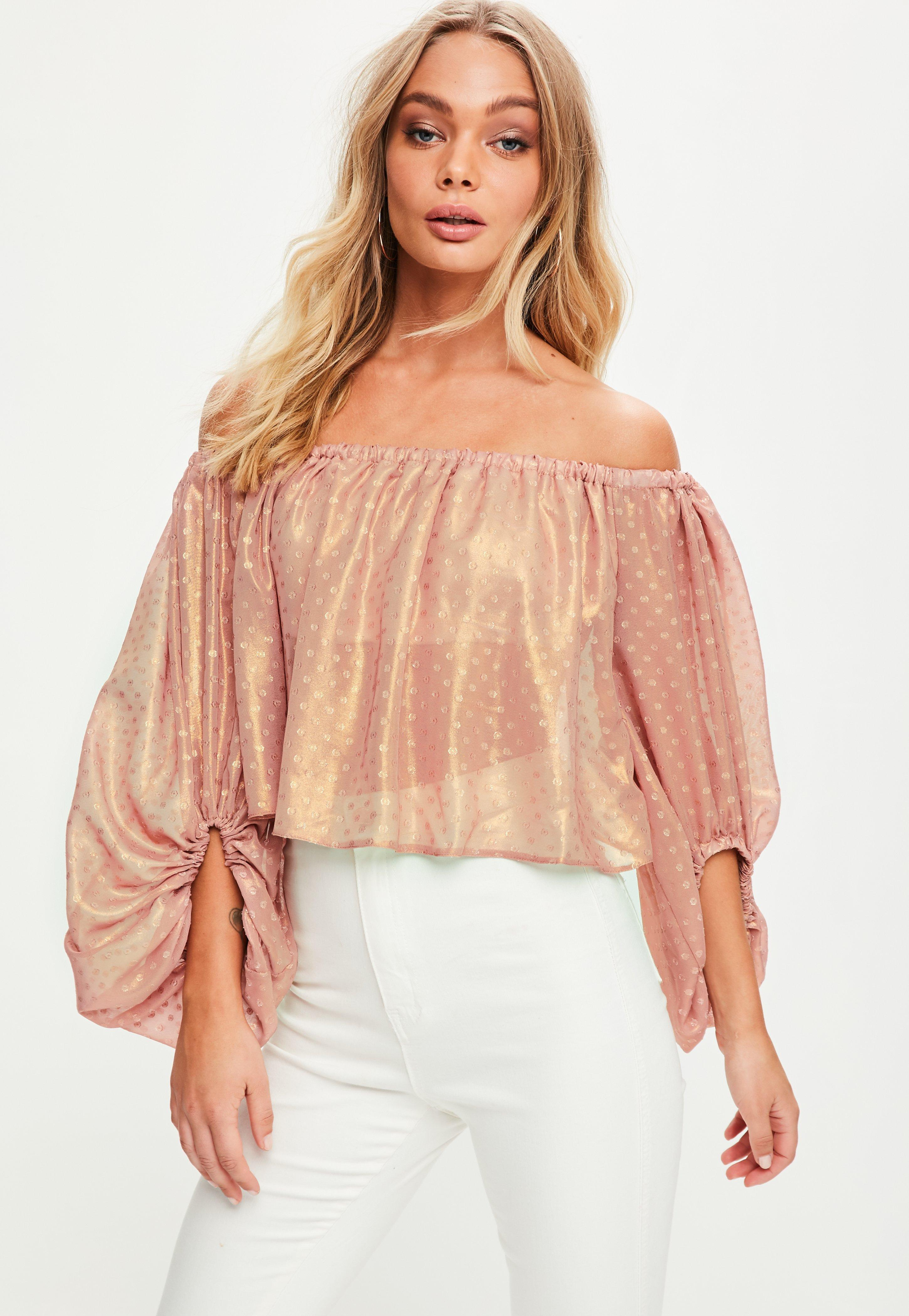 76249c98f0b6f6 Lyst - Missguided Rose Gold Dobby Mesh Bardot Crop Top in Pink
