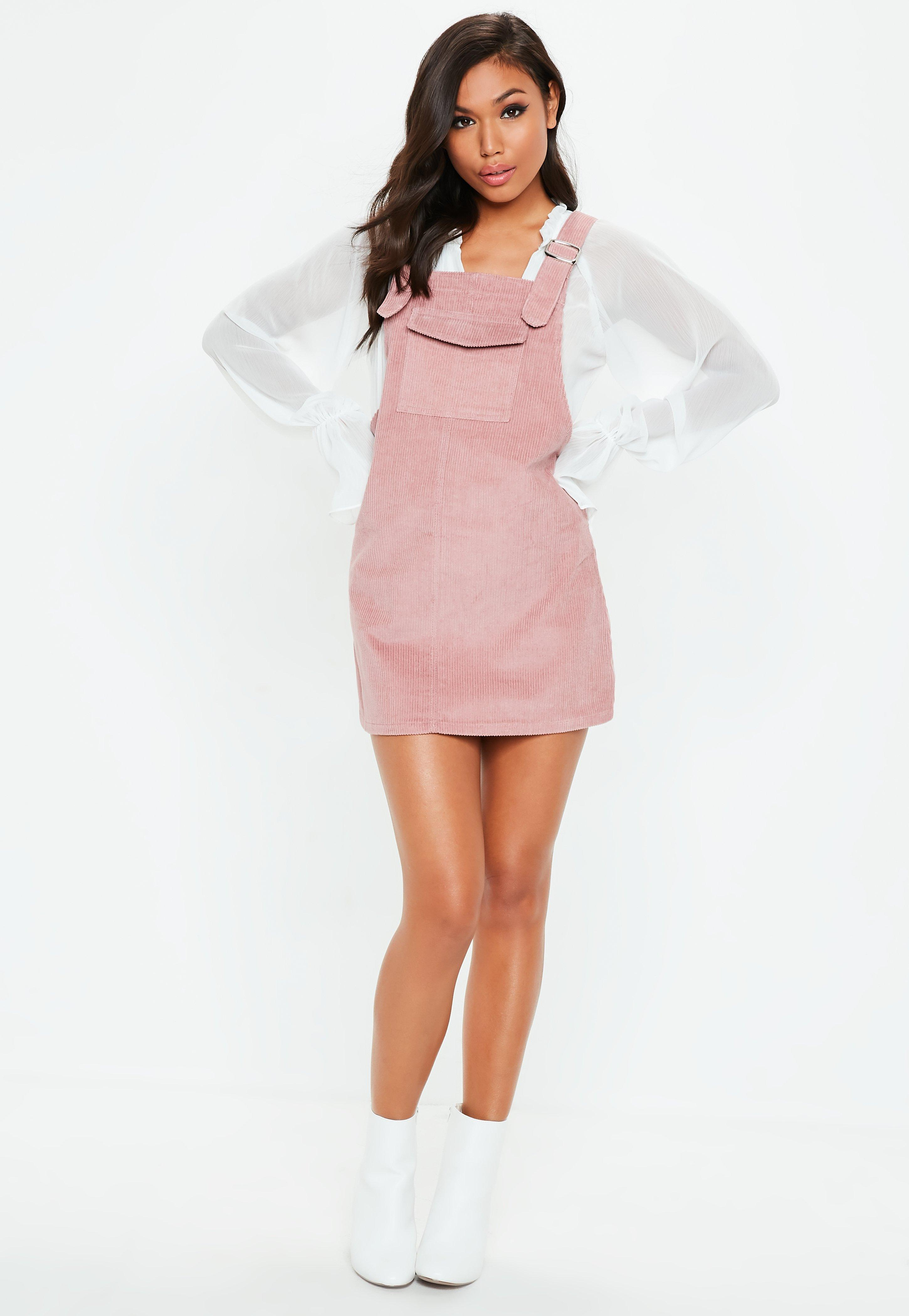 separation shoes best selection of 2019 highly coveted range of Lyst - Missguided Pink Cord Pinafore Dress in Pink