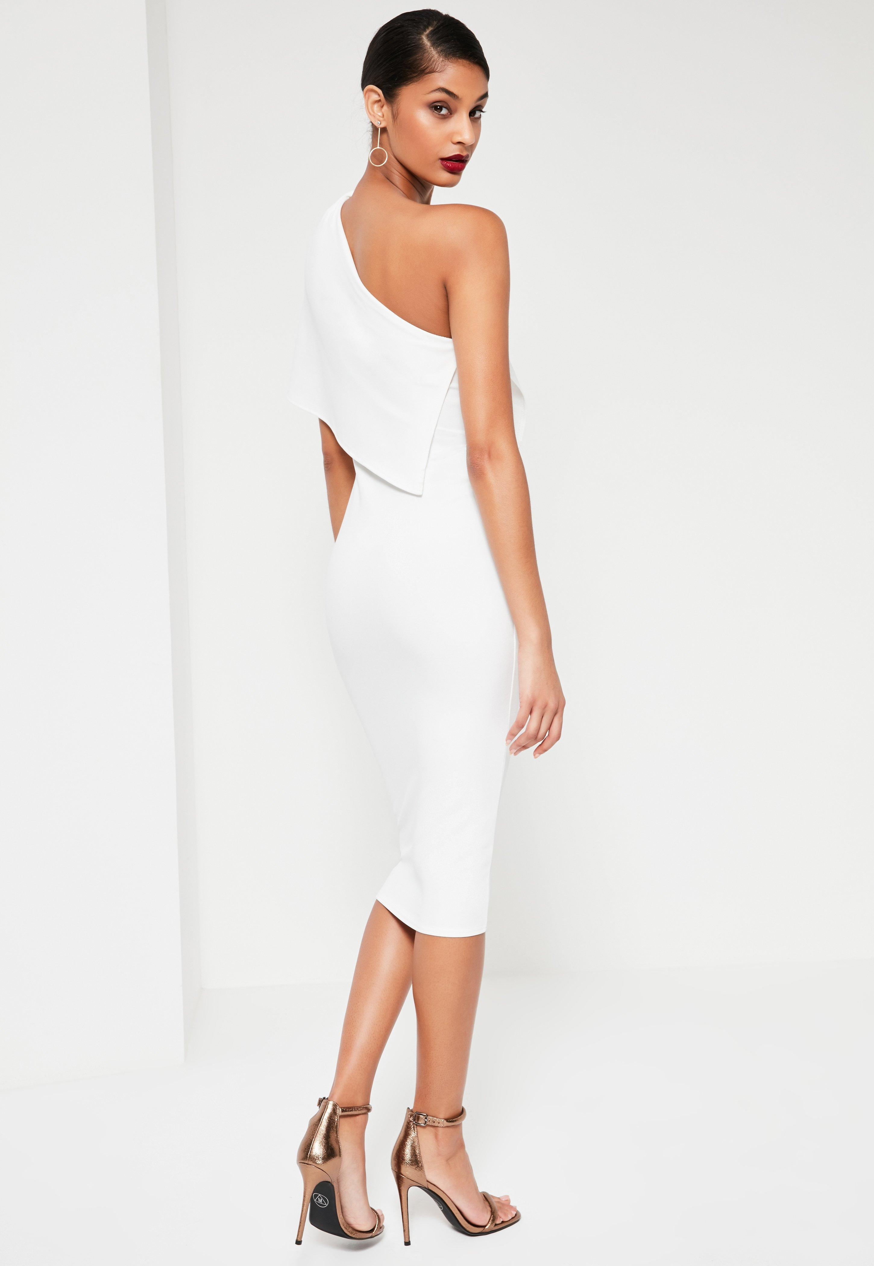5823305ce176 Missguided White One Shoulder Cape Midi Dress in White - Lyst