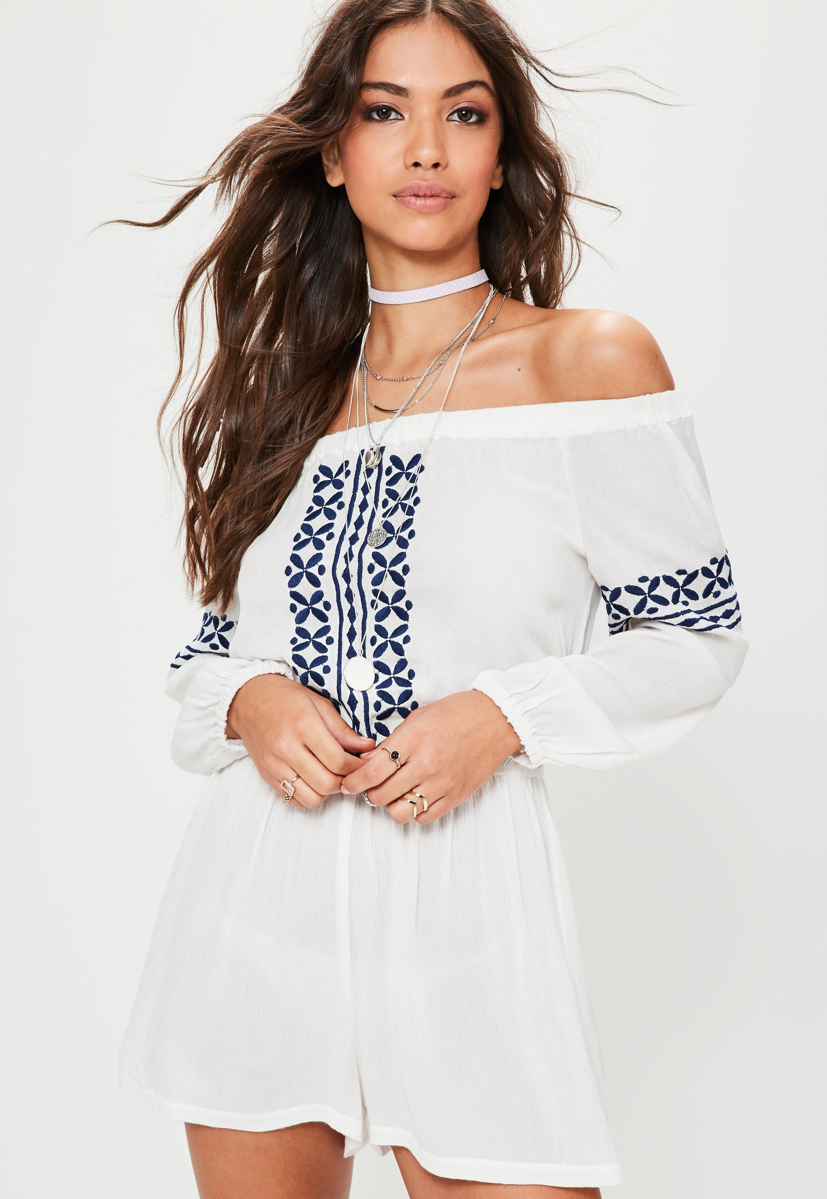 4e2ce3bb65 Missguided White Cheesecloth Embroidered Bardot Romper in White - Lyst