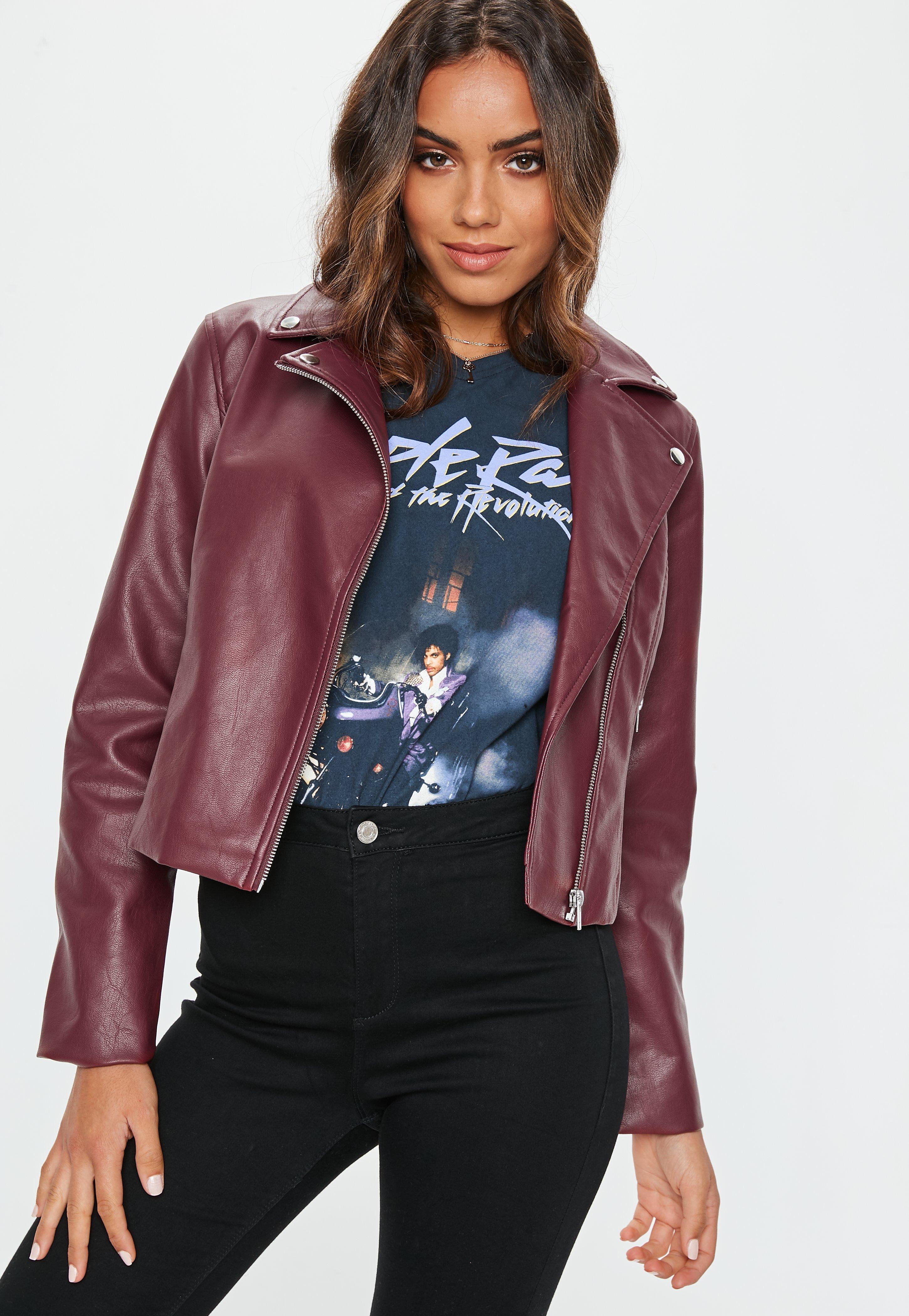 7d37046ea Women's Burgundy Ultimate Faux Leather Biker Jacket