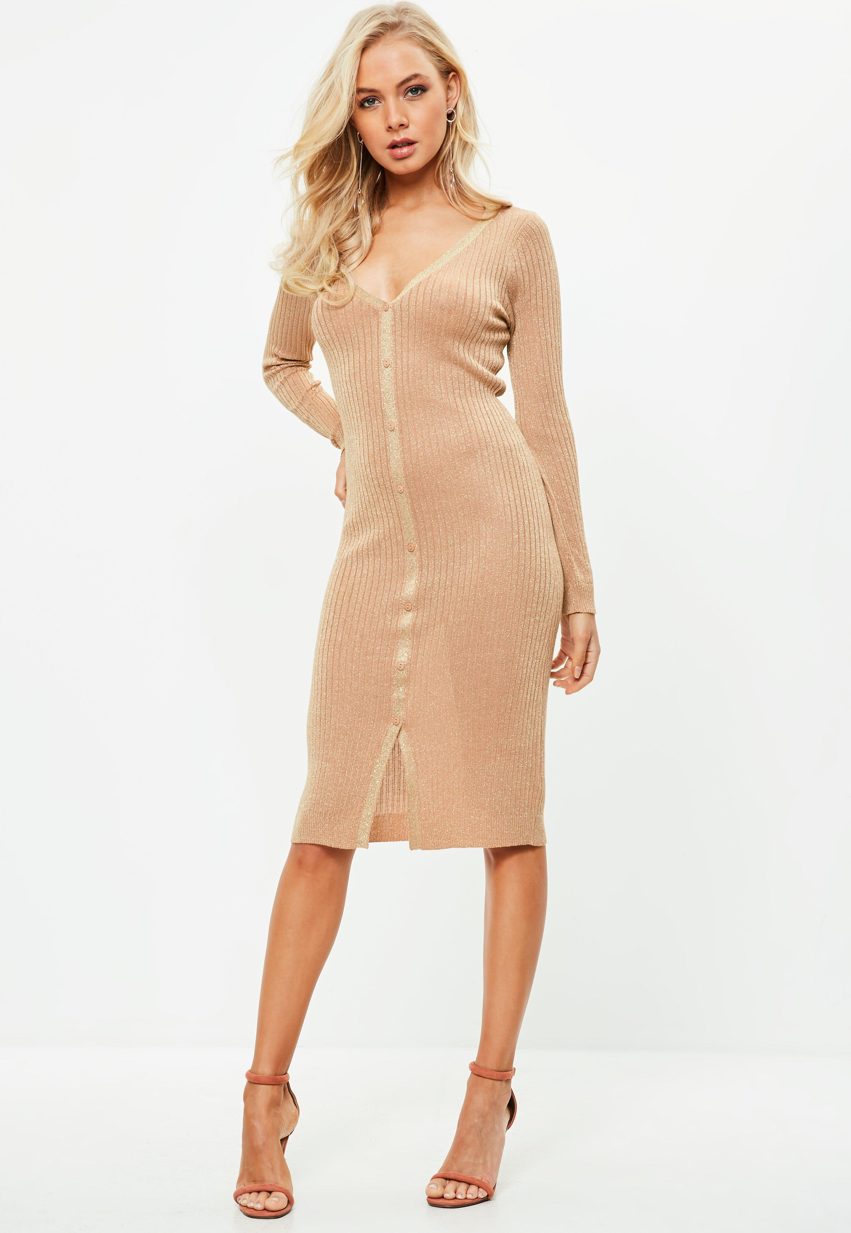 Lyst - Missguided Rose Gold Plunge Metallic Button Midi Dress in ... 6a7dd16e4