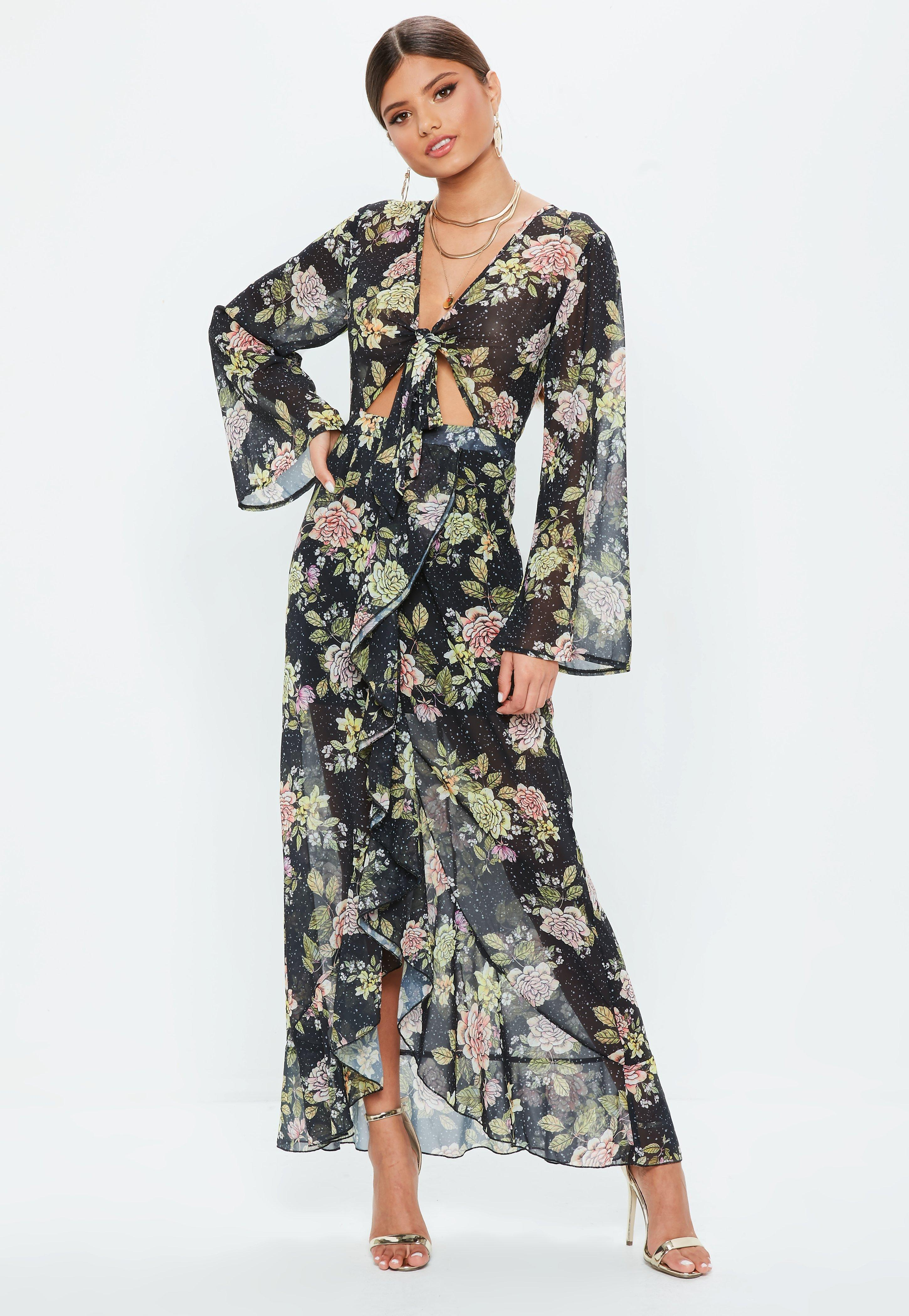 95cddc90e90f Lyst - Missguided Black Floral Tie Front Maxi Dress in Black