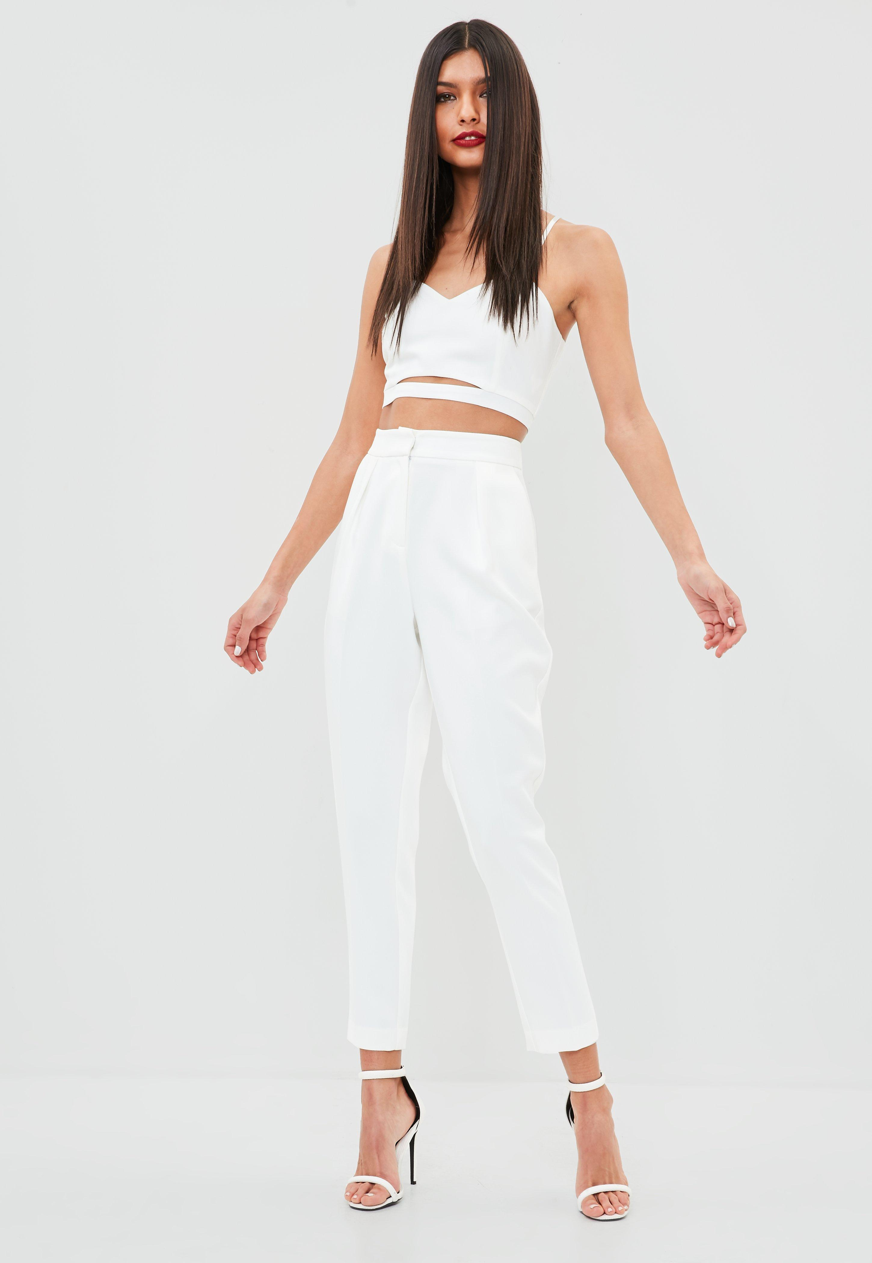 Missguided White Pleated Front Cigarette Pants