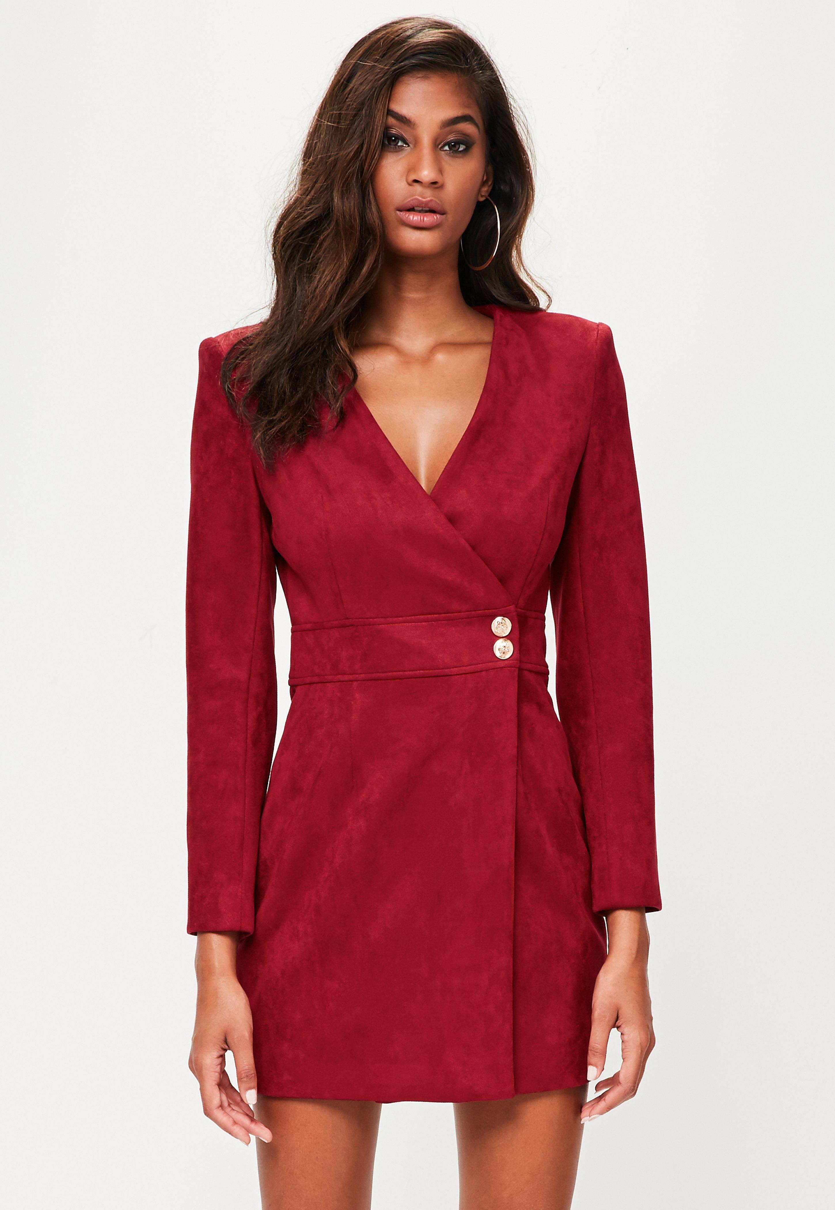 Missguided Peace Love Red Faux Suede Wrap Dress Lyst