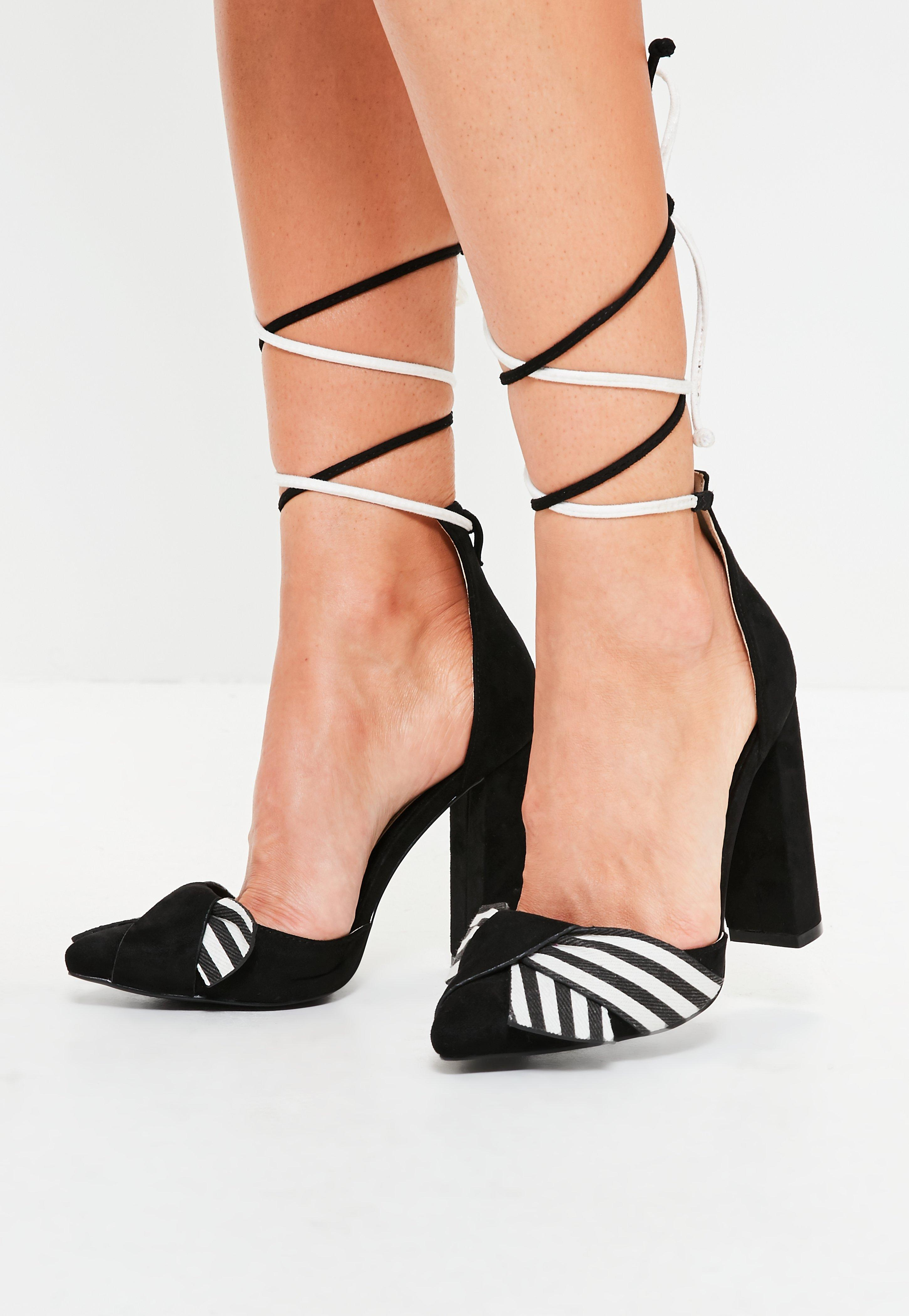 entire collection best loved uk store Missguided Black Striped Wrap Around Block Heel Sandals - Lyst