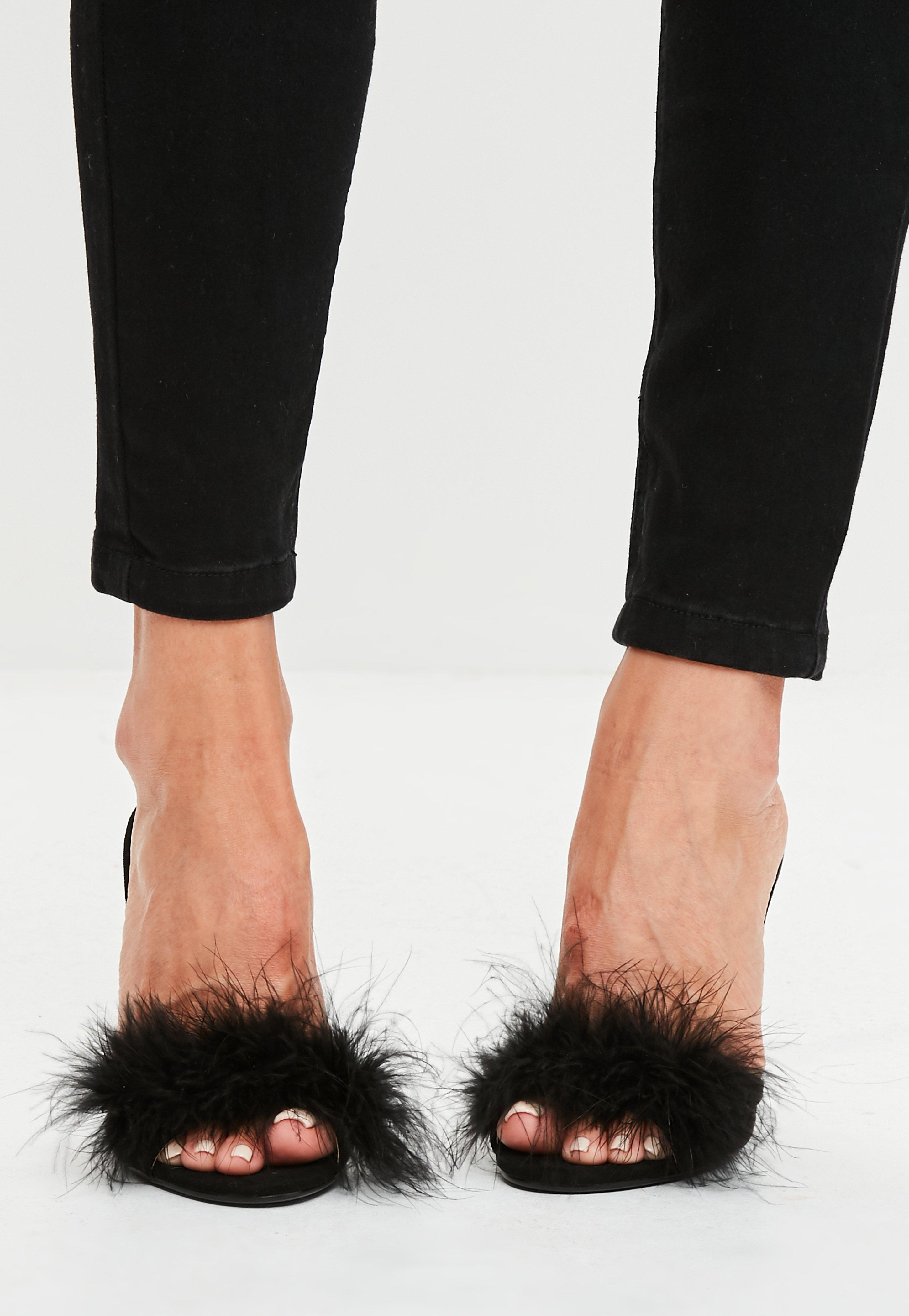 Missguided Black Feather Heeled Mules