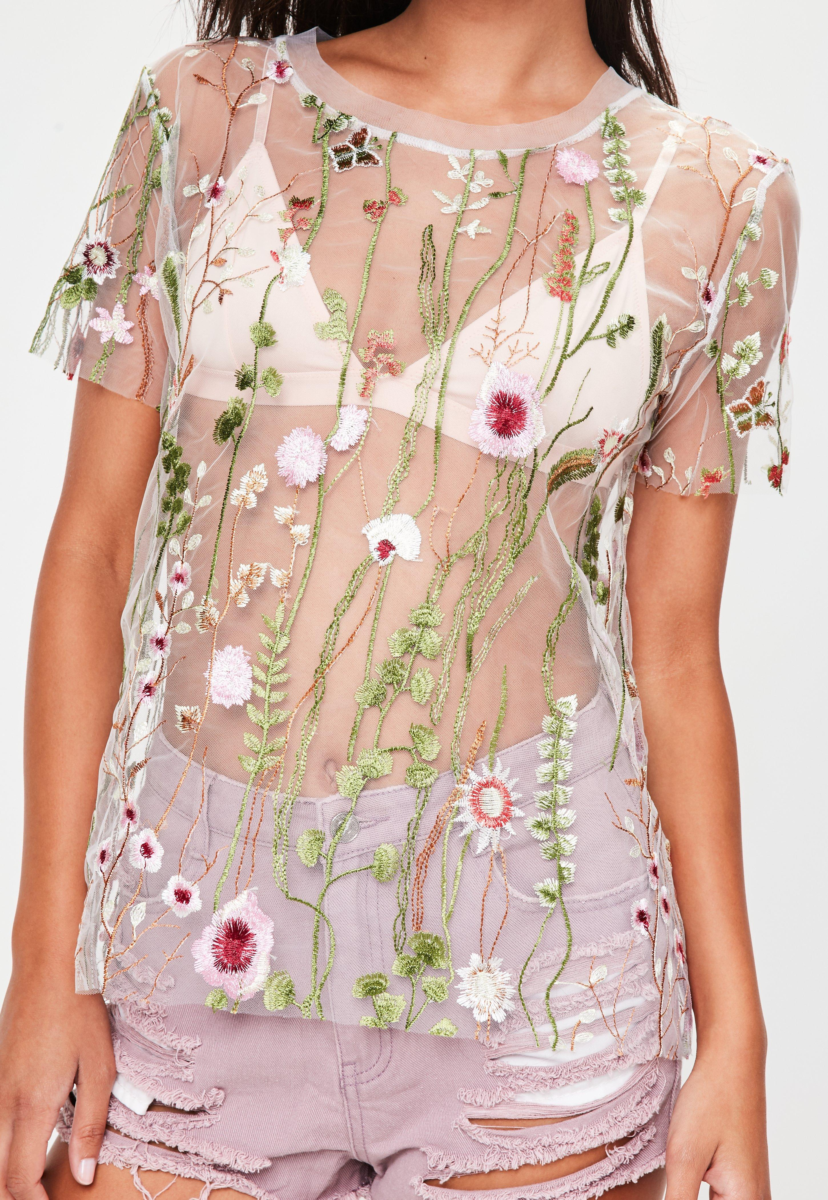 fcbb353f172d3 Lyst - Missguided White Mesh Floral Embroidered Oversized T-shirt in ...