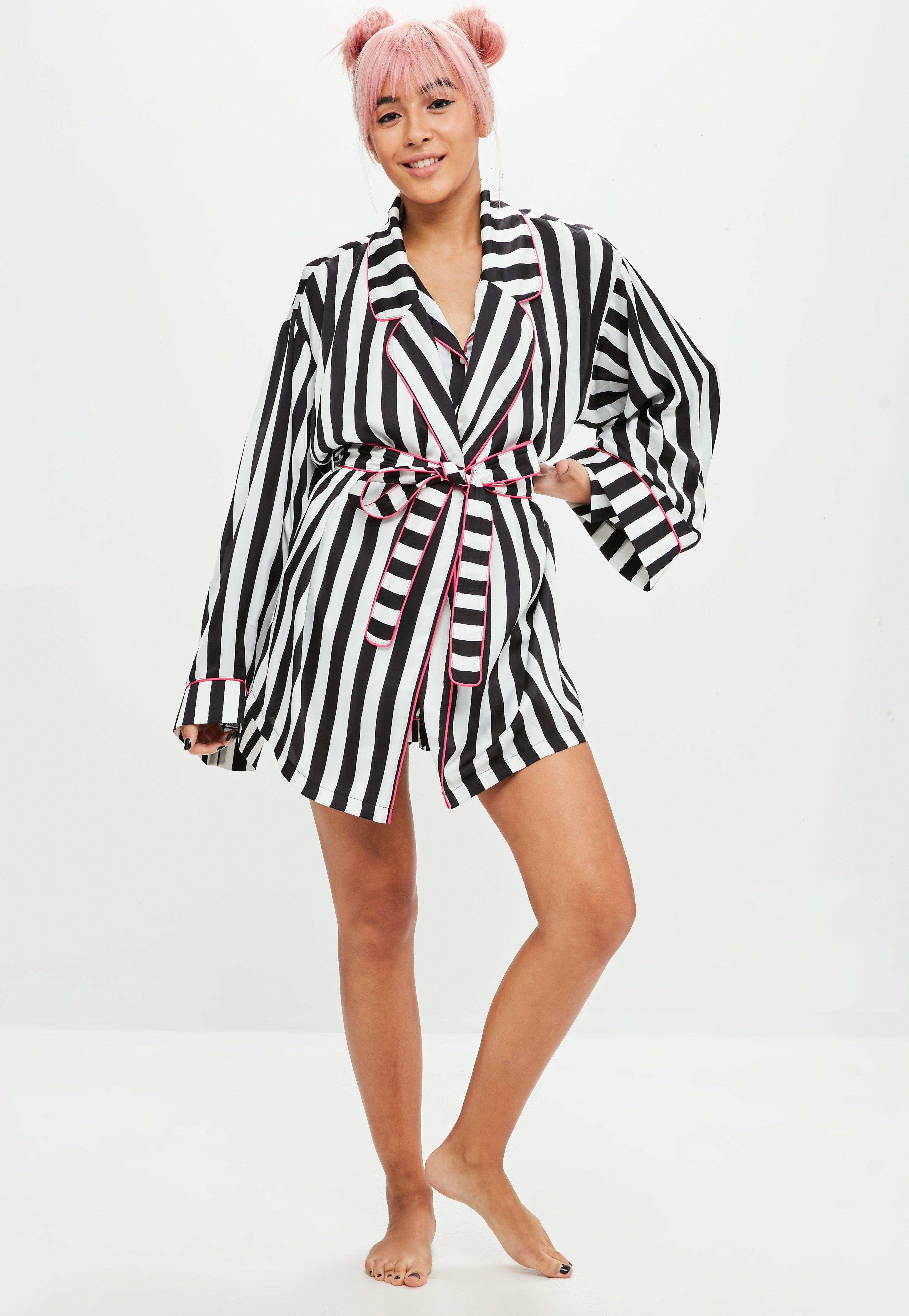 Missguided Synthetic Barbie X Black Stripe Embroidered Dressing Gown