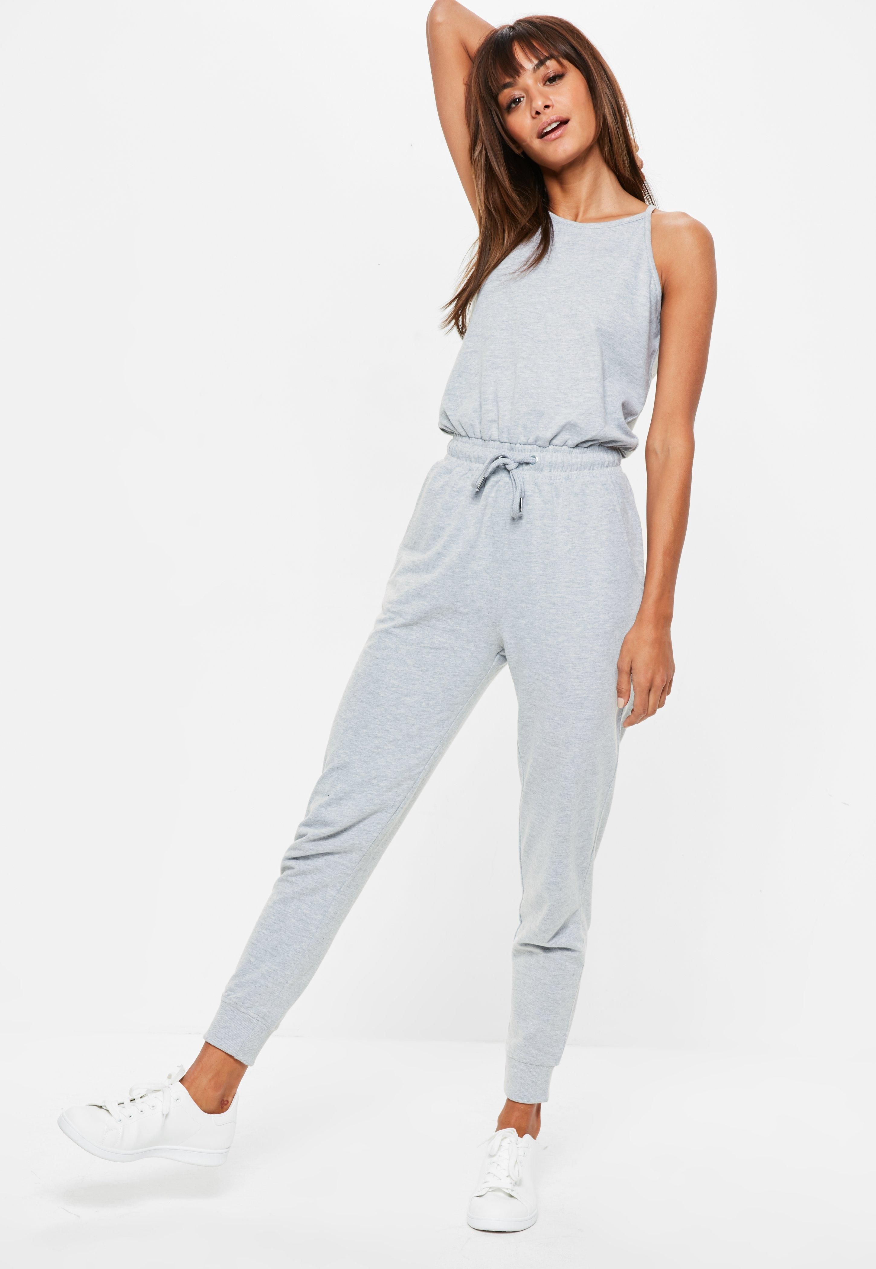 43ea3f4619b Lyst - Missguided Grey 90 s Neck Loopback Jogger Jumpsuit in Gray