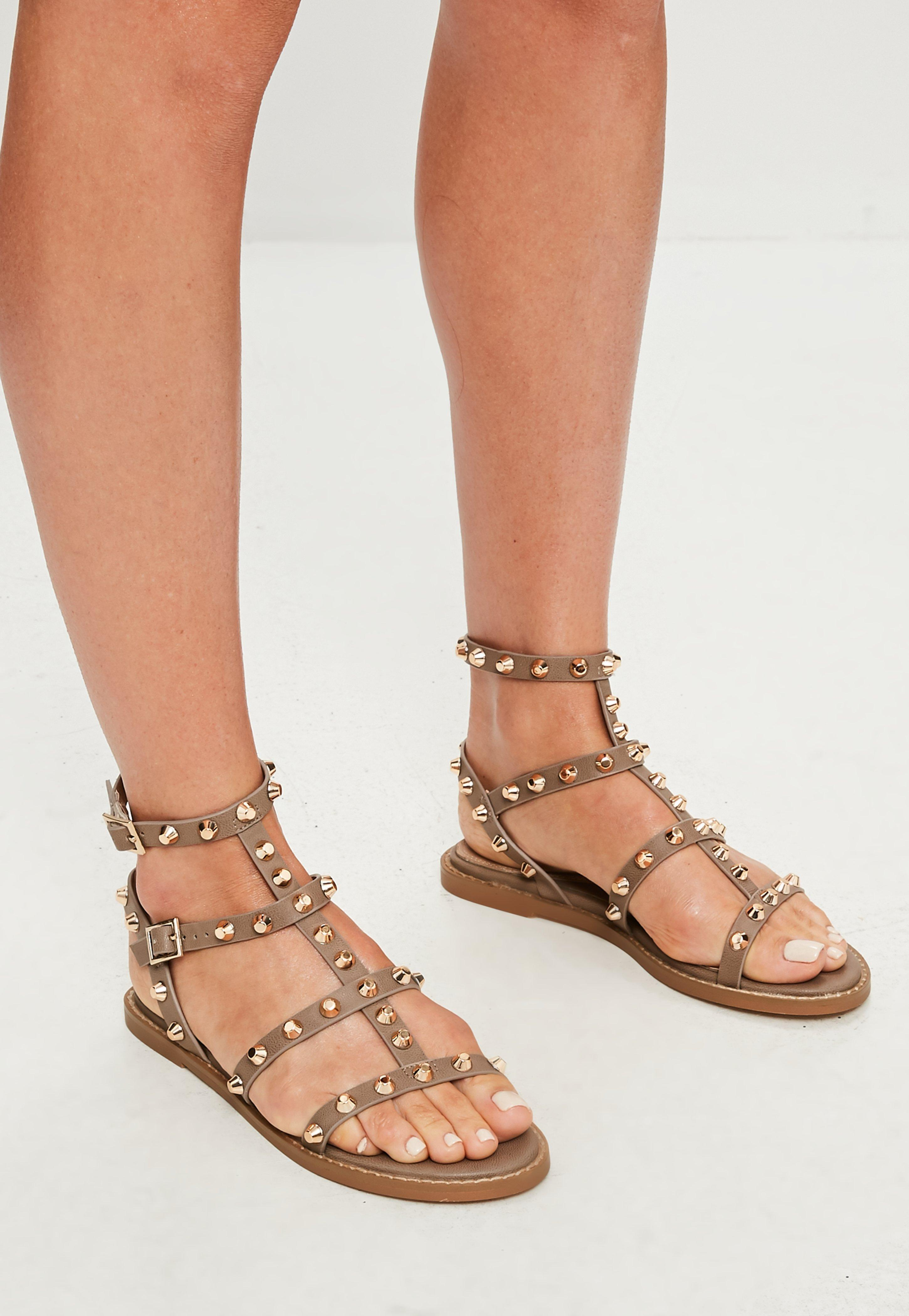 e090ab0e480f6f Missguided - Brown Studded Gladiator Sandals - Lyst. View fullscreen