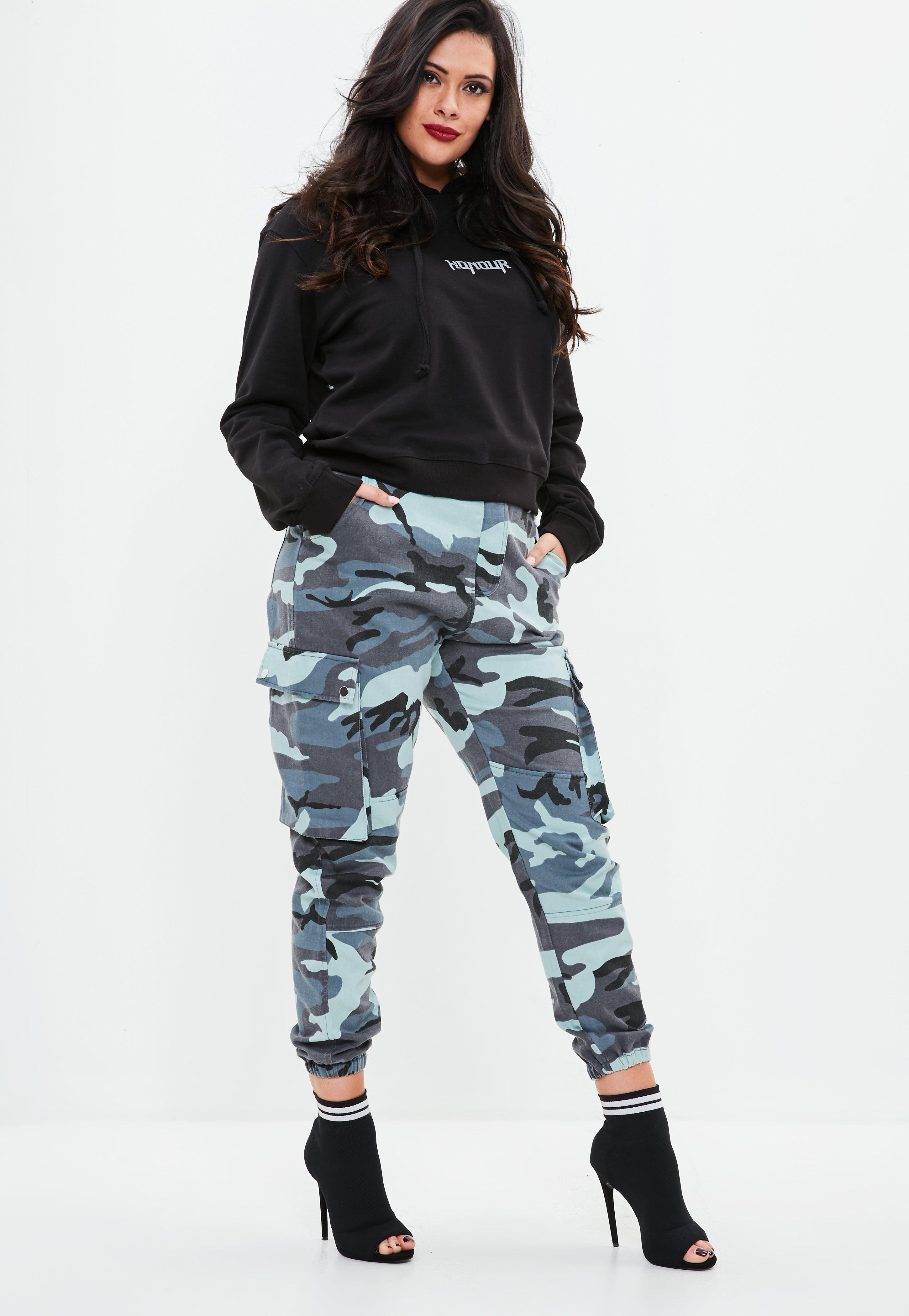 Lyst Missguided Curve Blue Camo Combat Trousers In Blue