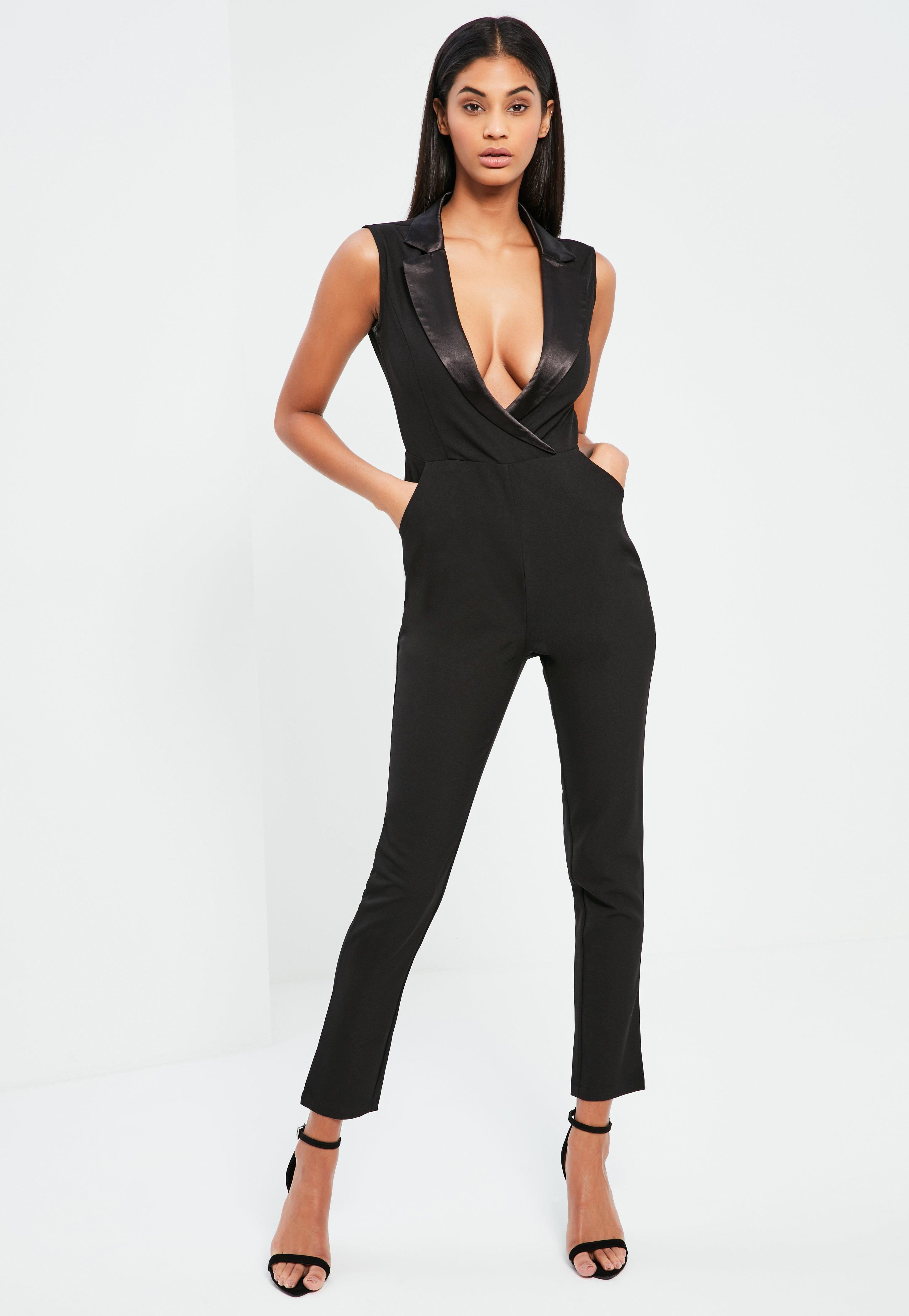 aa9b3393cea Lyst - Missguided Black Satin Lapel Sleeveless Tux Jumpsuit in Black