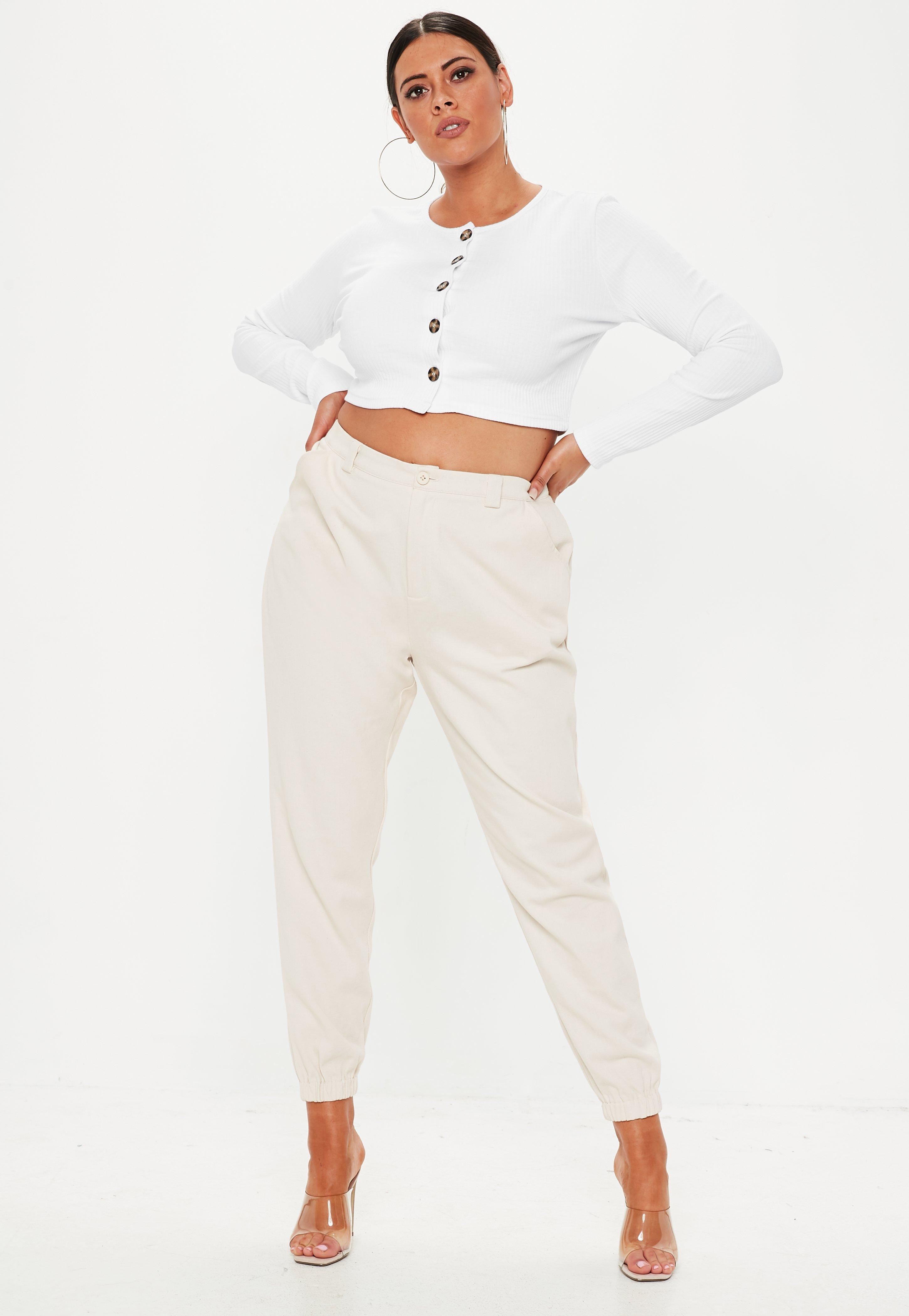 c14796f996f41 Missguided - Plus Size White Ribbed Button Front Long Sleeve Crop Top - Lyst.  View fullscreen
