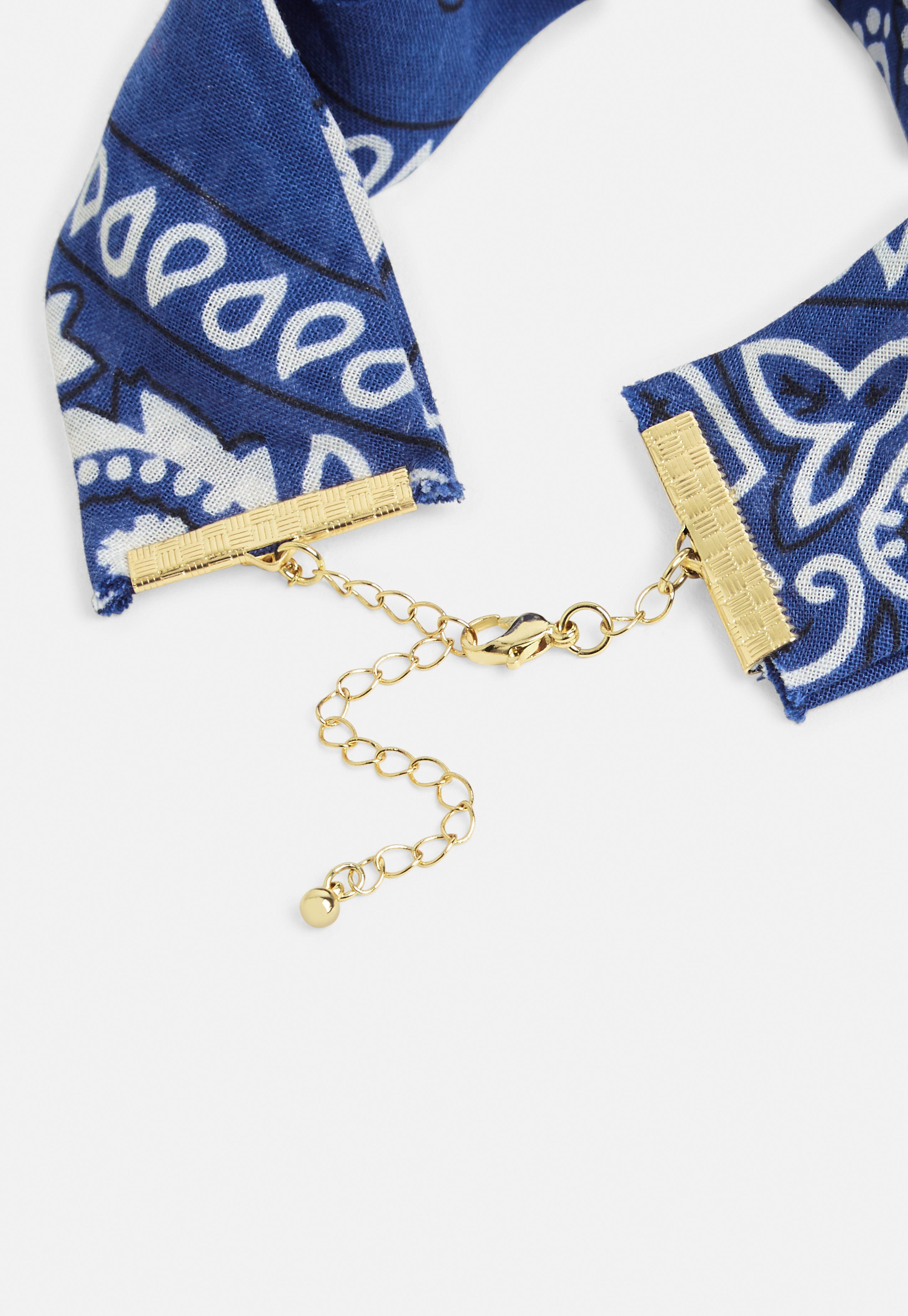Missguided Blue Bandana Gold Choker Necklace