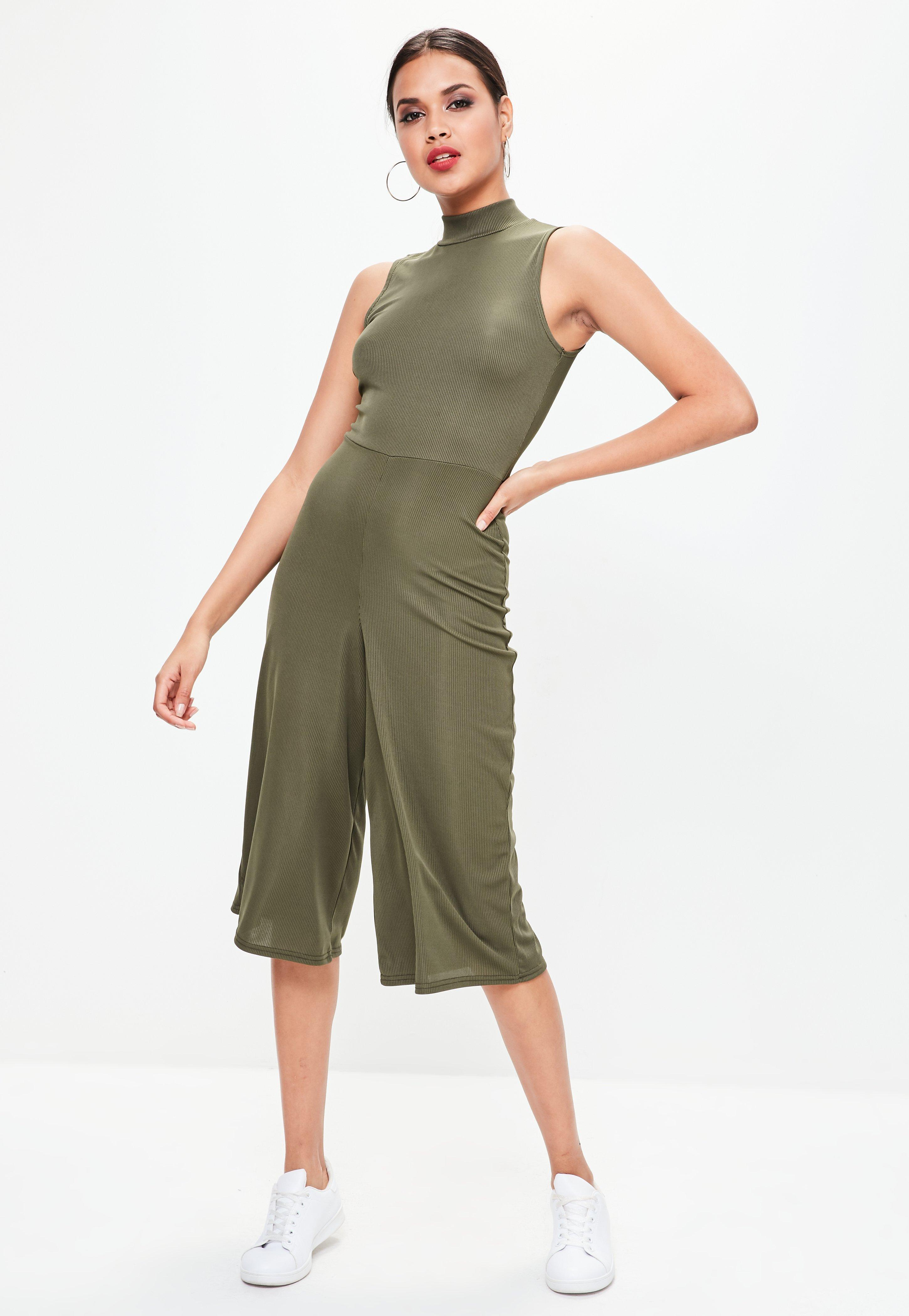 d4379f6a9ef Missguided Khaki Ribbed Wide Leg Jumpsuit in Green - Lyst