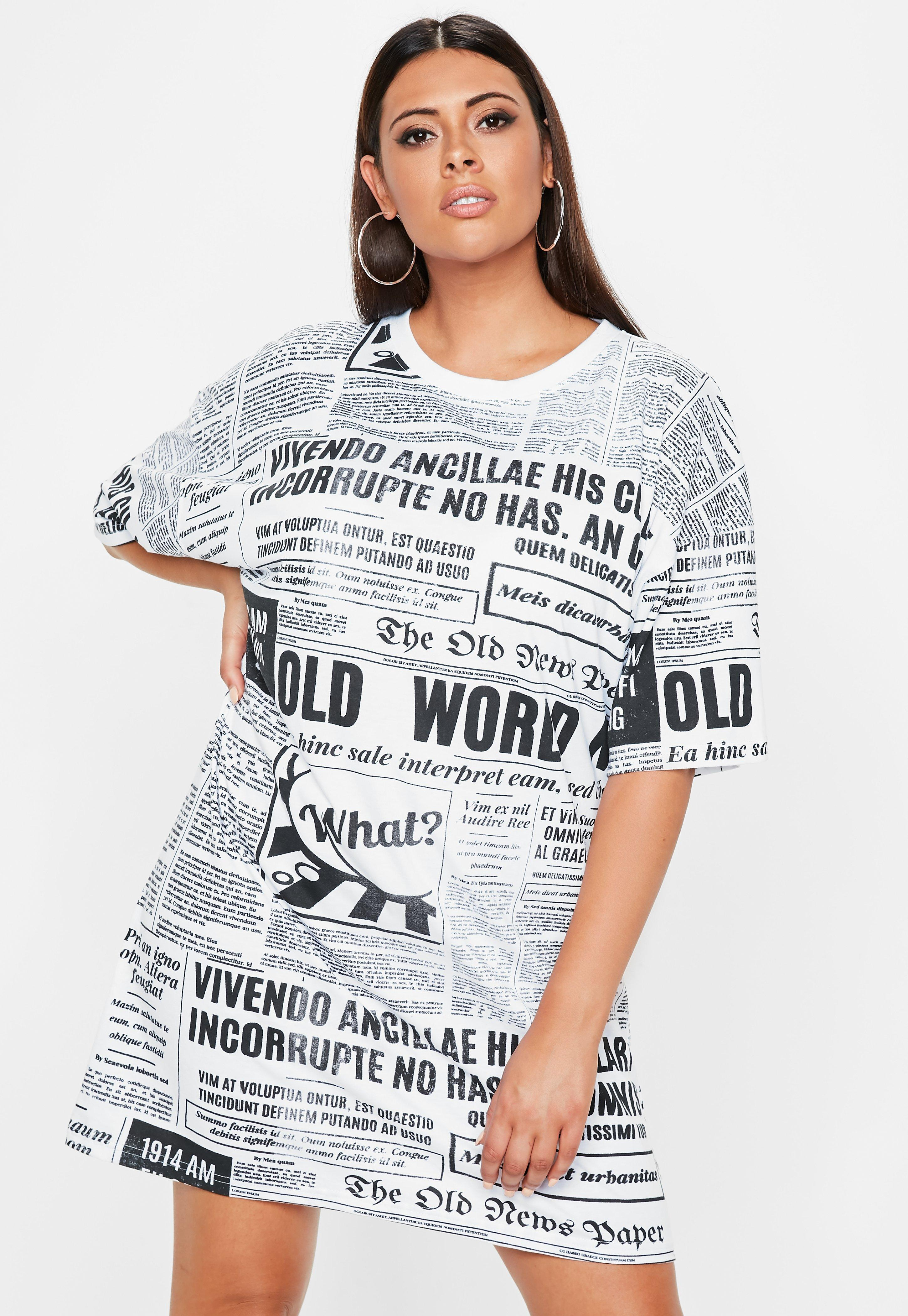 Plus Size White Newspaper Printed Oversized T-shirt Dress