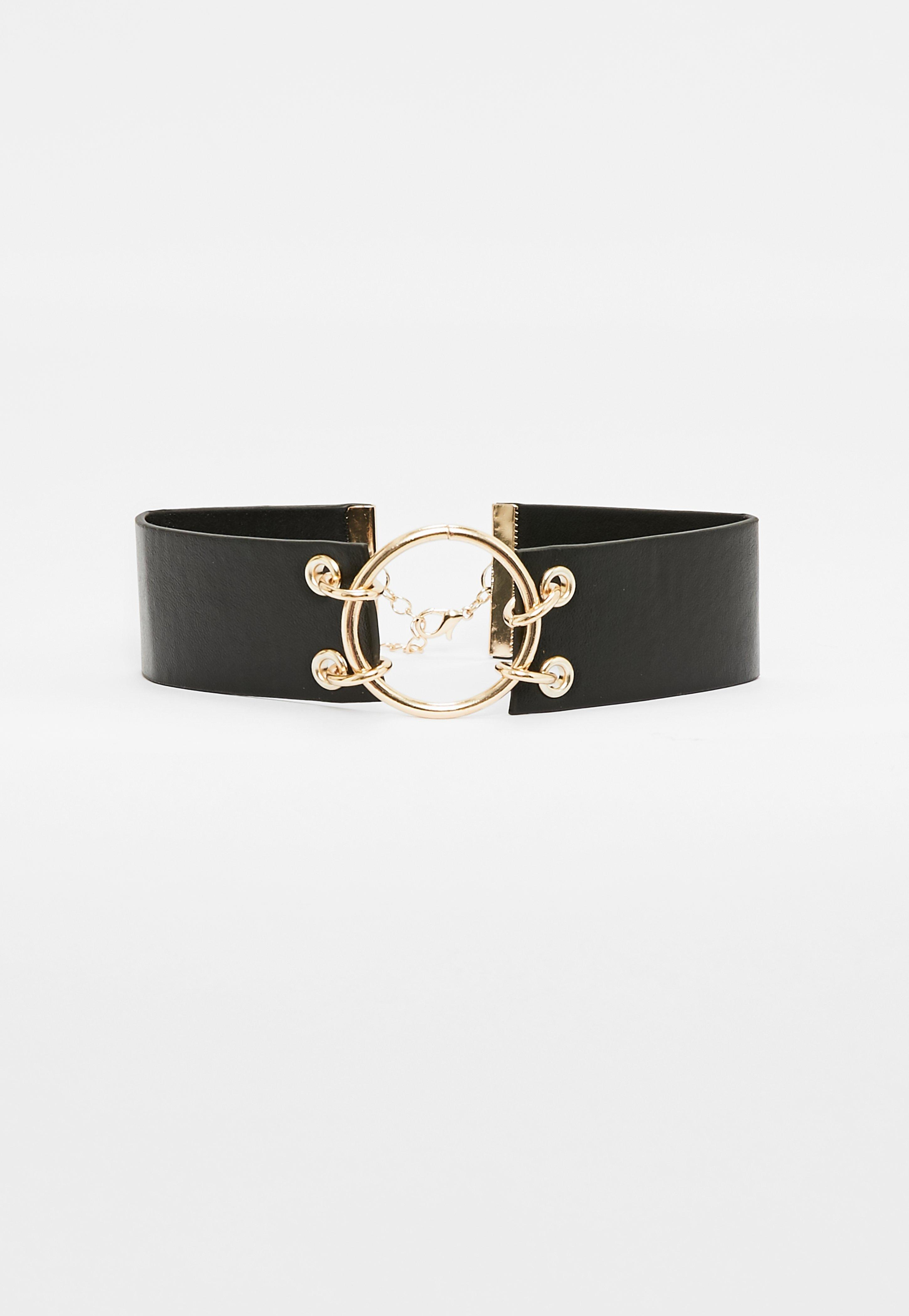 Missguided Black Faux Leather Gold Hoop Choker Necklace