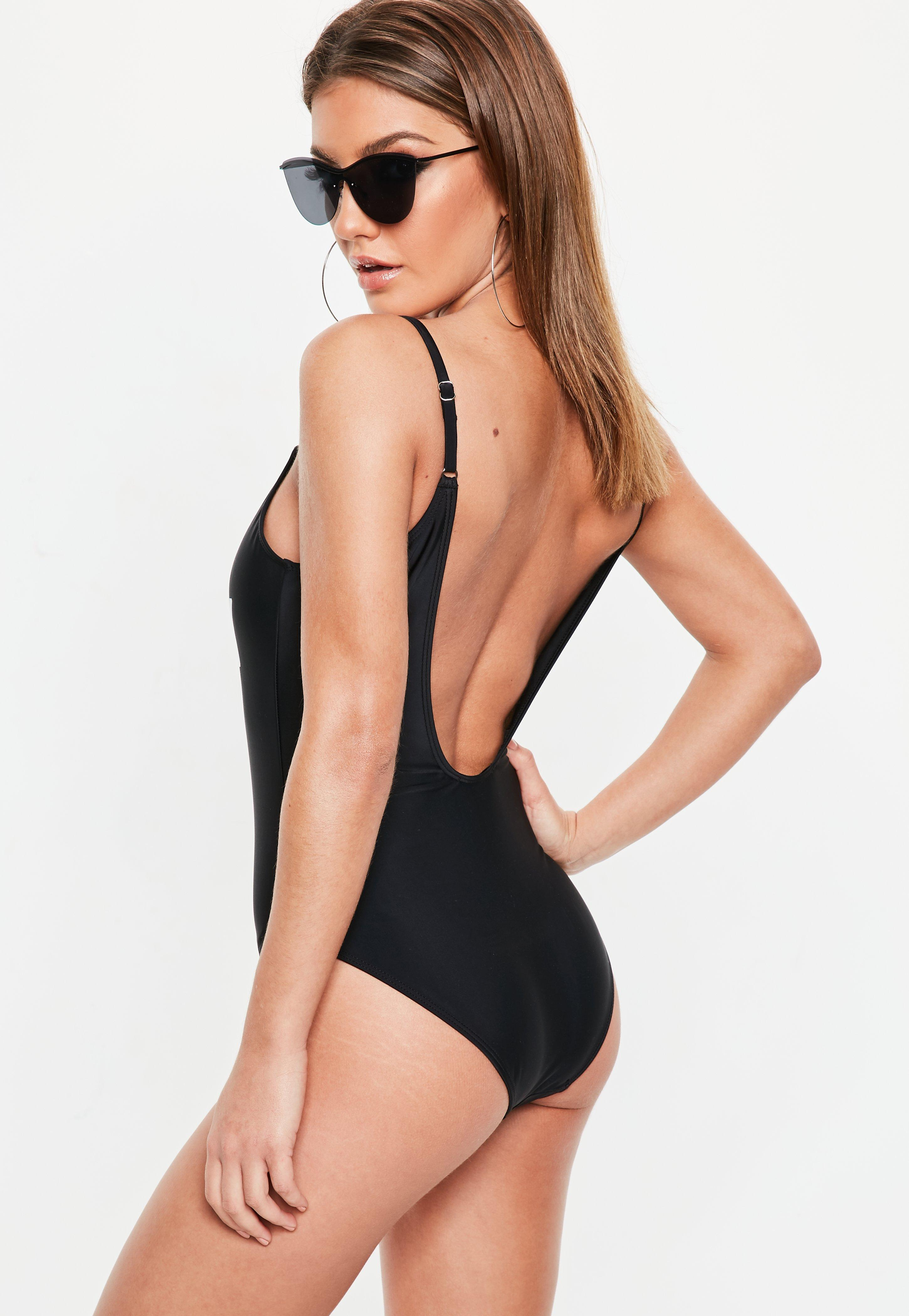 127c05fb2e Lyst - Missguided Black Sassy Slogan Swimsuit in Black