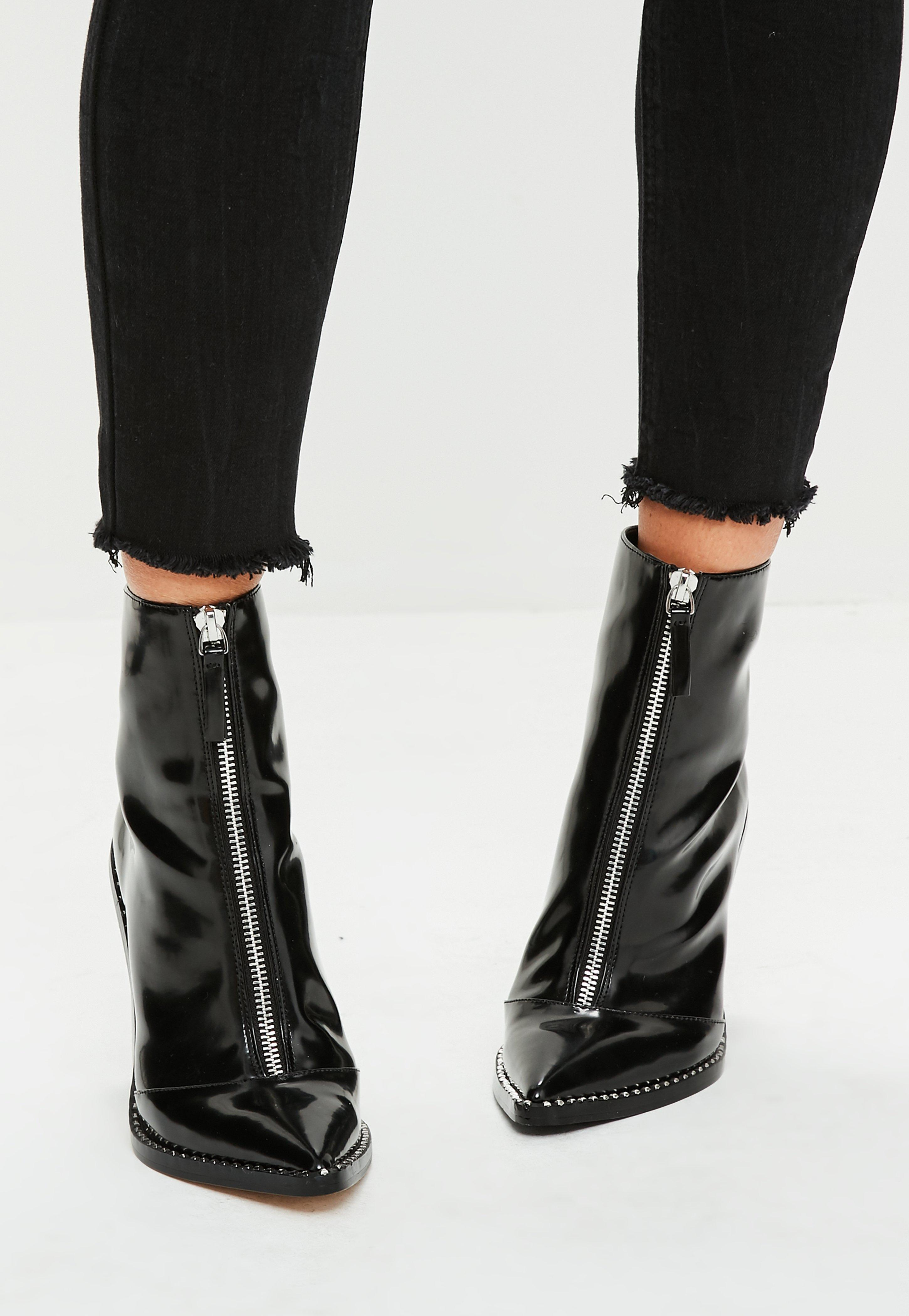 Black Front Zip Pointed Ankle Boots