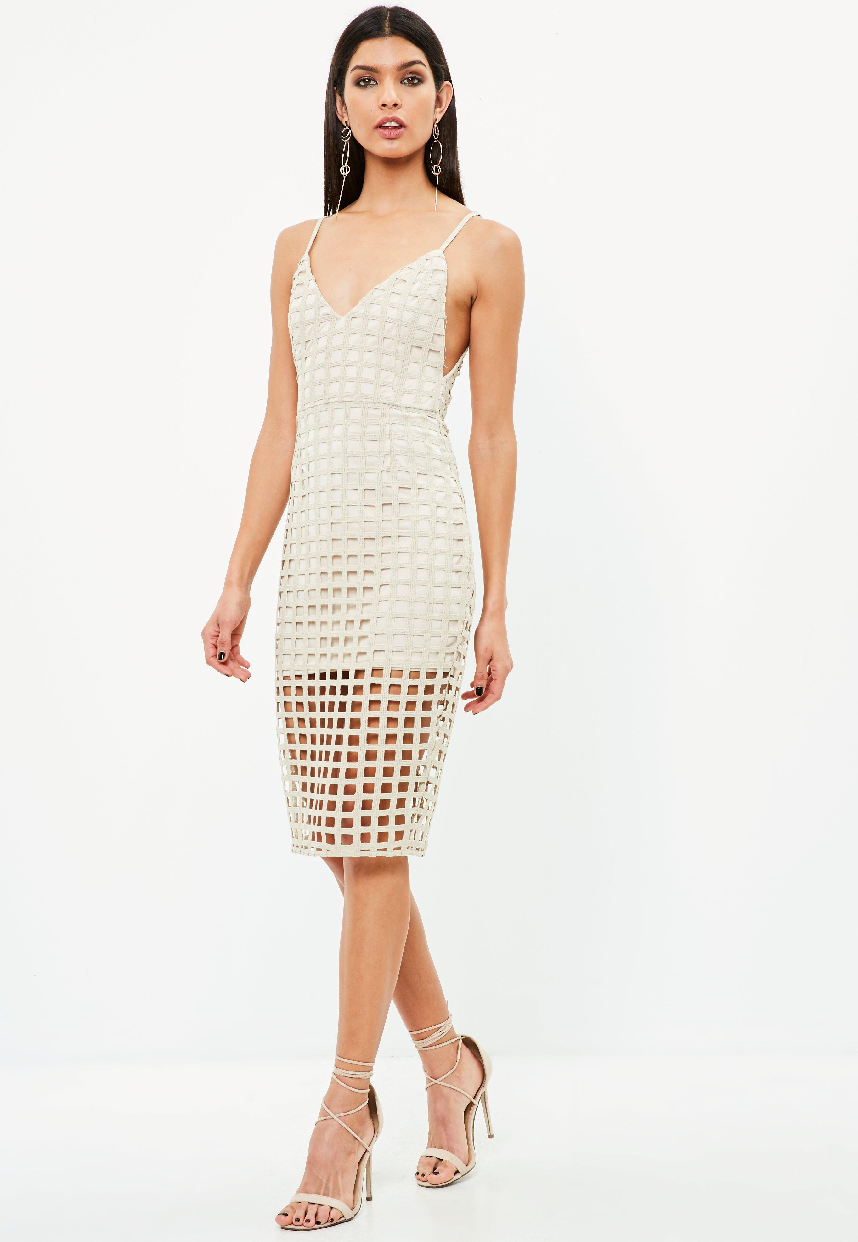 3b5948b480ec Lyst - Missguided Nude Geometric Lace Racer Back Midi Dress in Natural