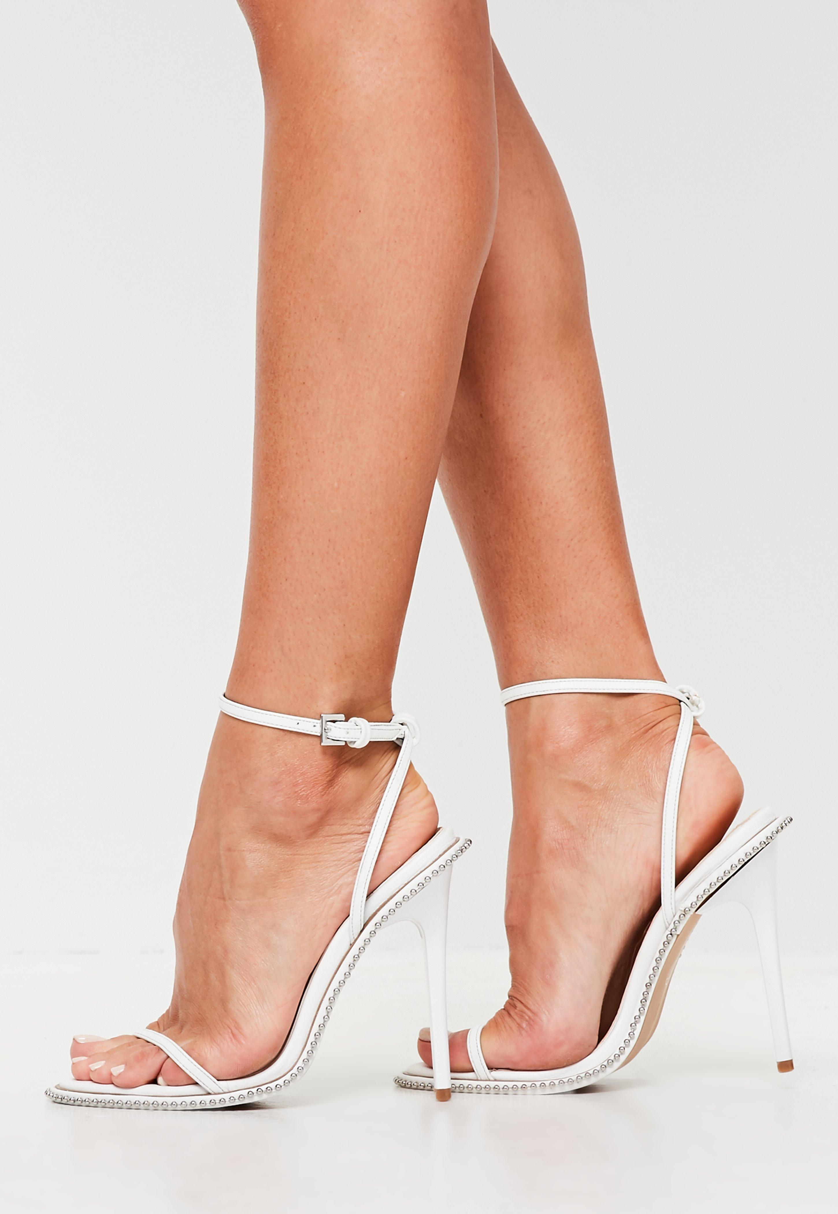 2dd4fb2a385 Lyst - Missguided White Chain Barely There Heels in White