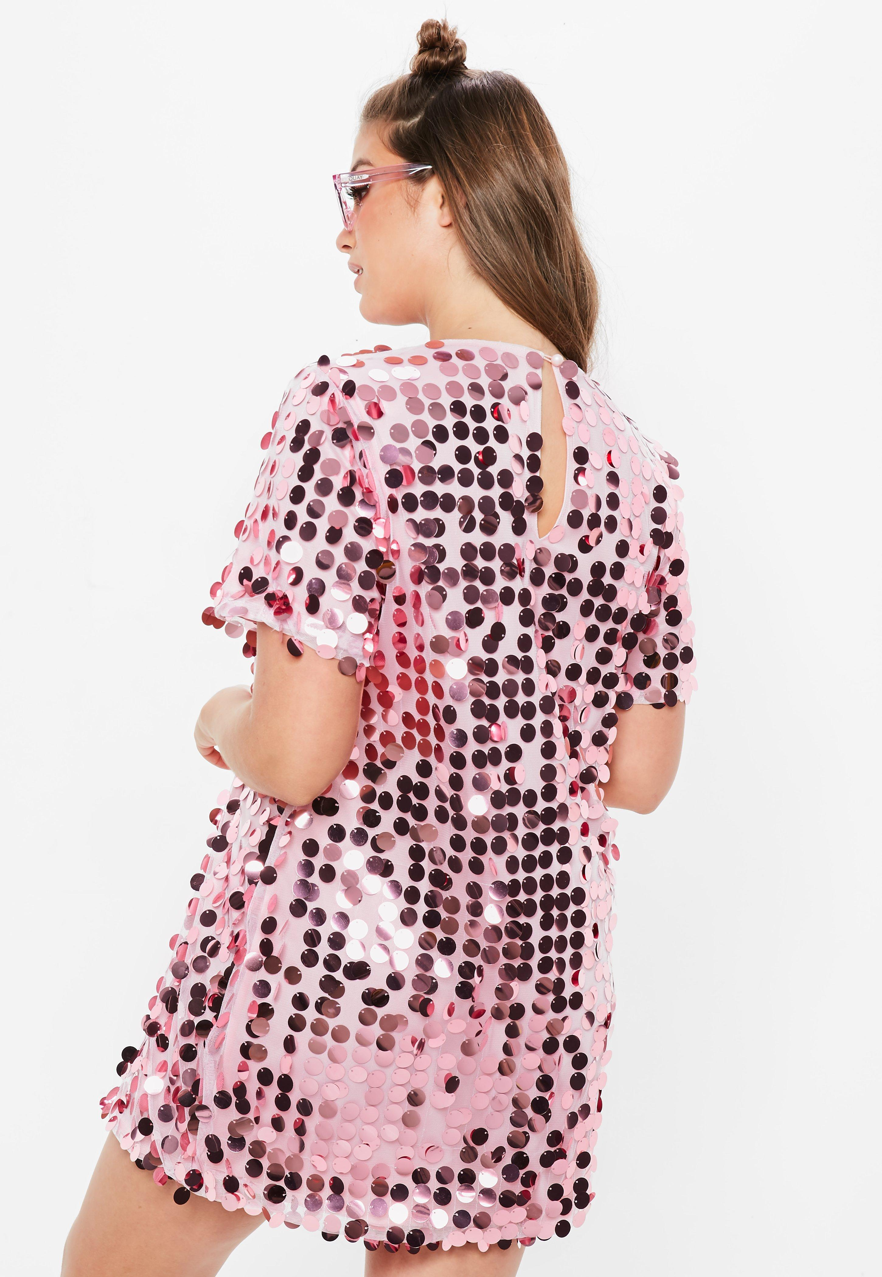 2b28aeb47704c Lyst - Missguided Plus Size Pink Sequin T-shirt Dress in Pink