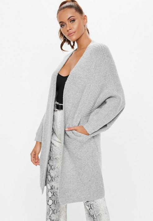 d88fdee4603eb9 Missguided Grey Oversized Batwing Long Knitted Cardigan in Gray - Lyst