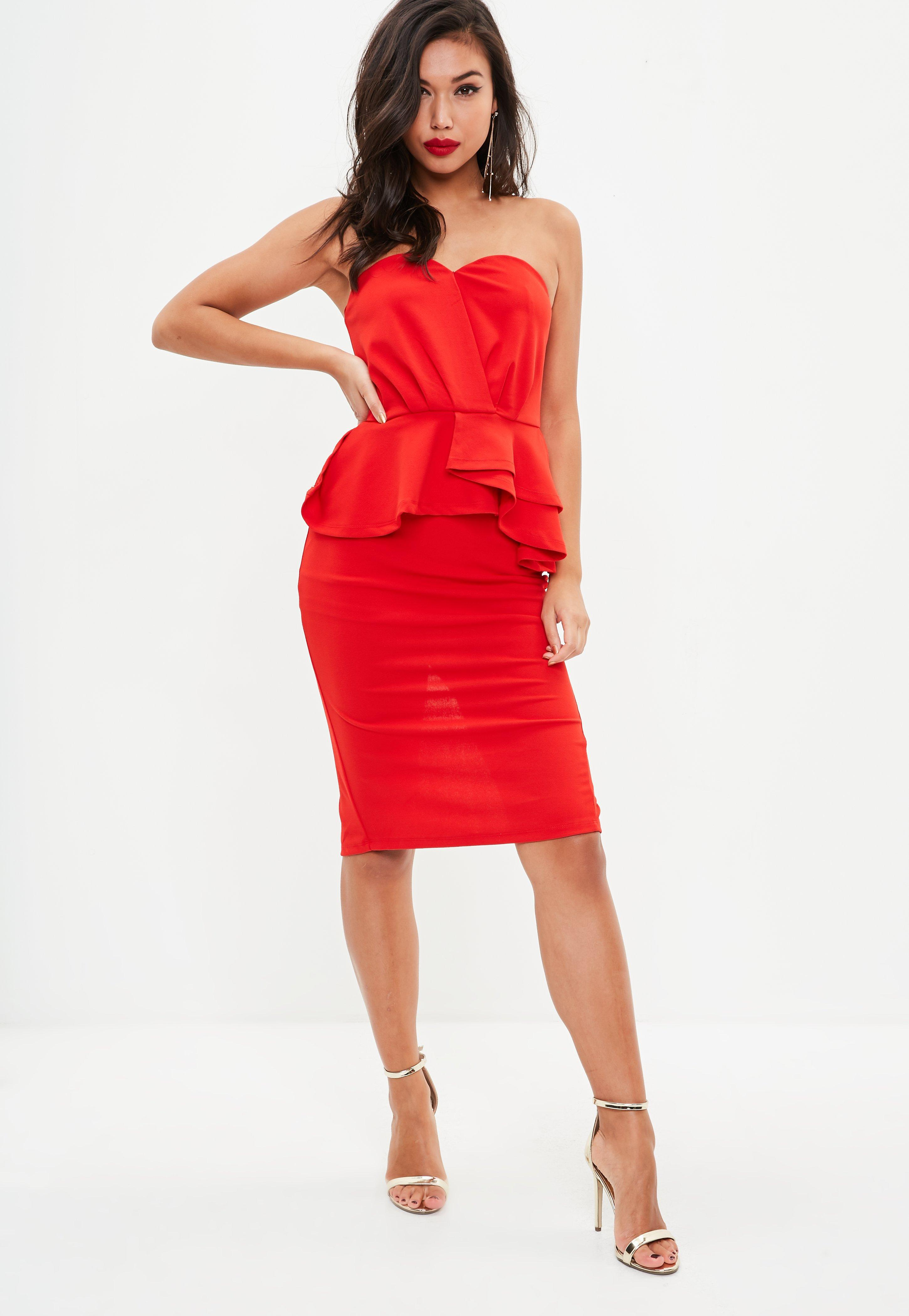 Missguided. Women's Red Bandeau Frill Midi Dress