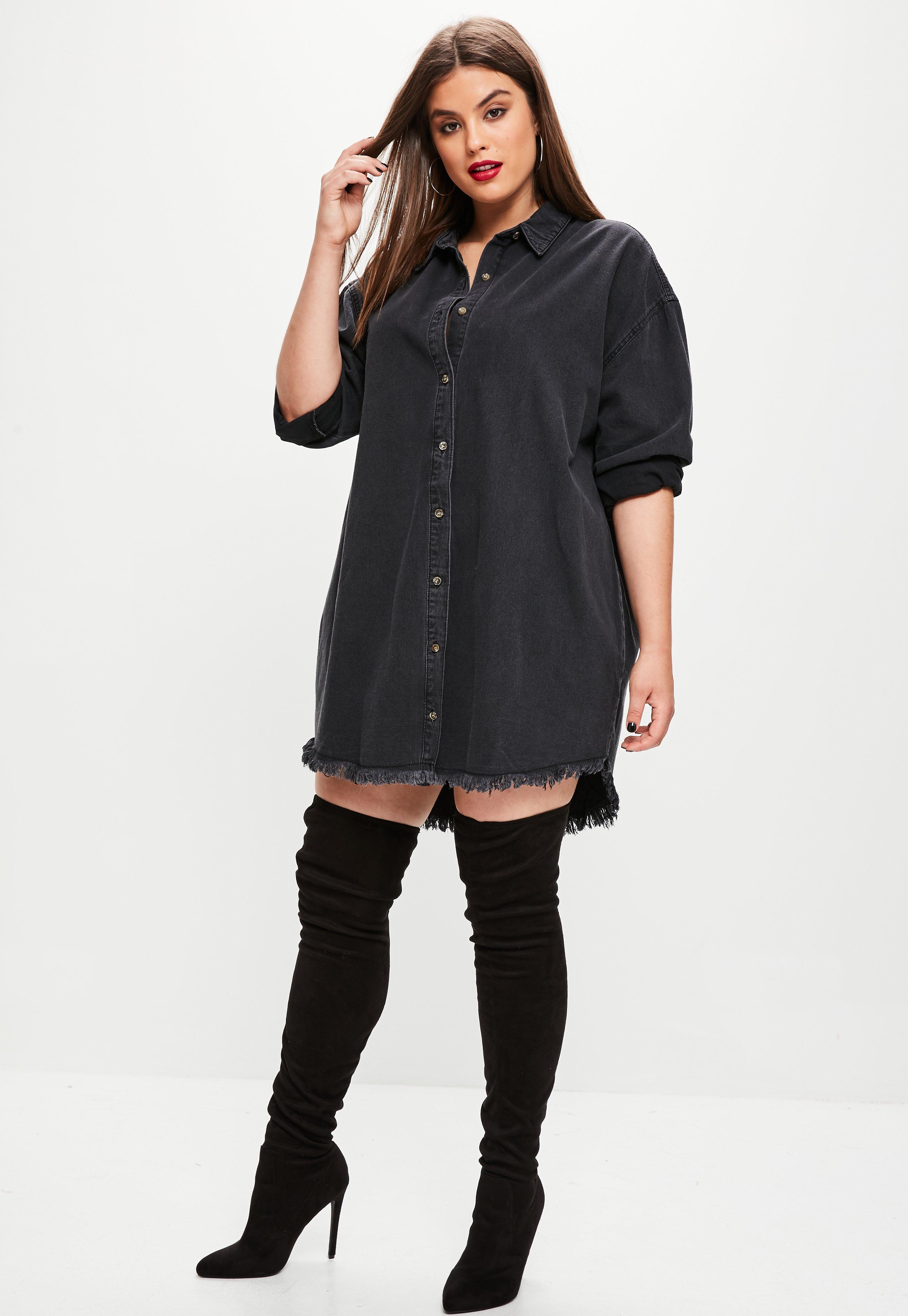 5d3fa798e43 Black Denim Shirt Dress Plus Size - Gomes Weine AG