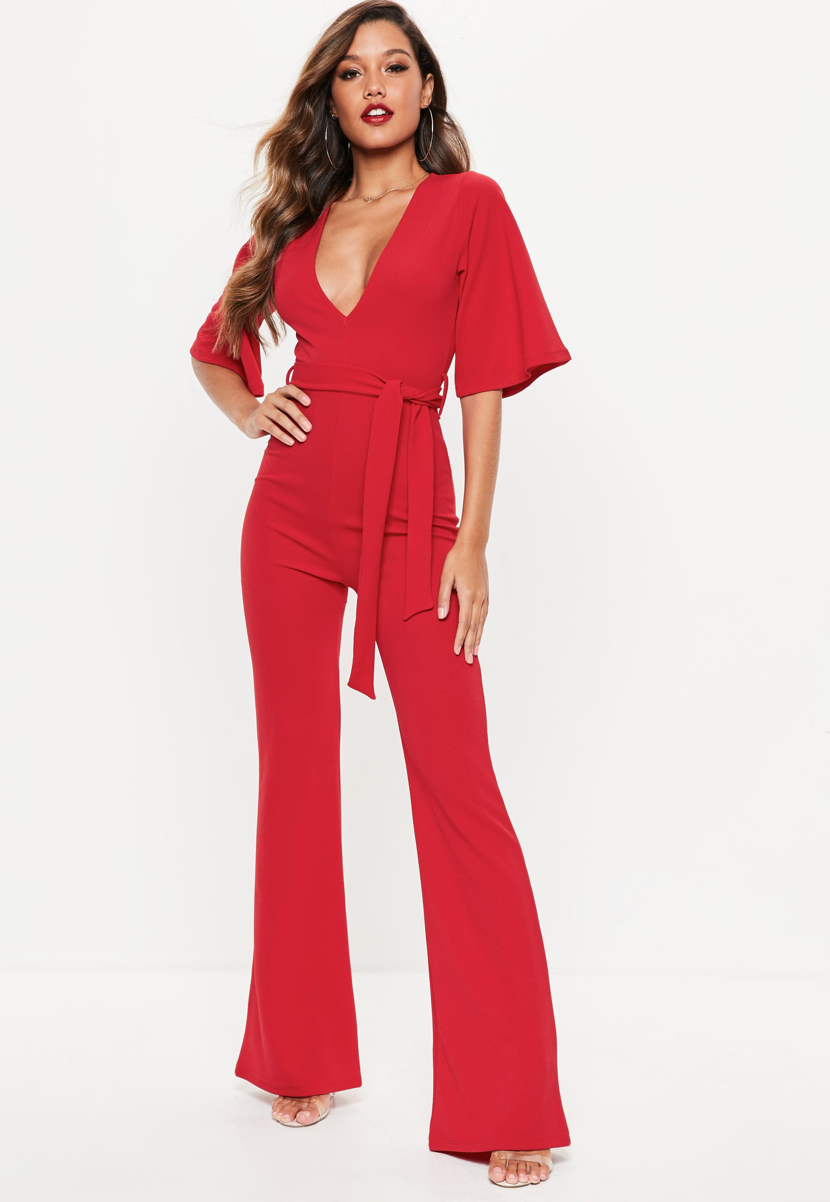 2892835238 Missguided Red Kimono Sleeve Plunge Jumpsuit in Red - Lyst