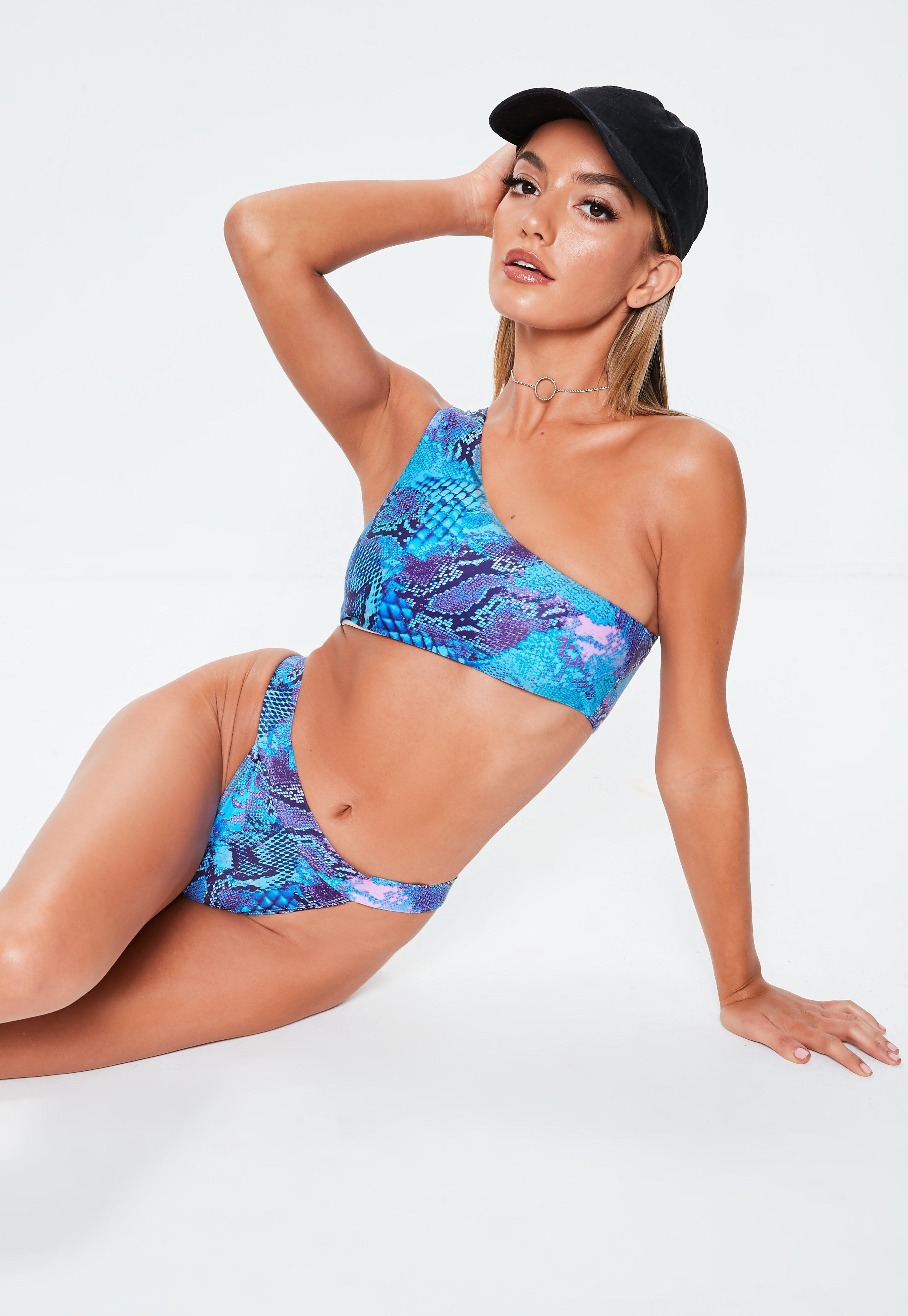 5d58acdc210 Missguided. Women's Blue Mix & Match Snake Print One Shoulder Bikini Top