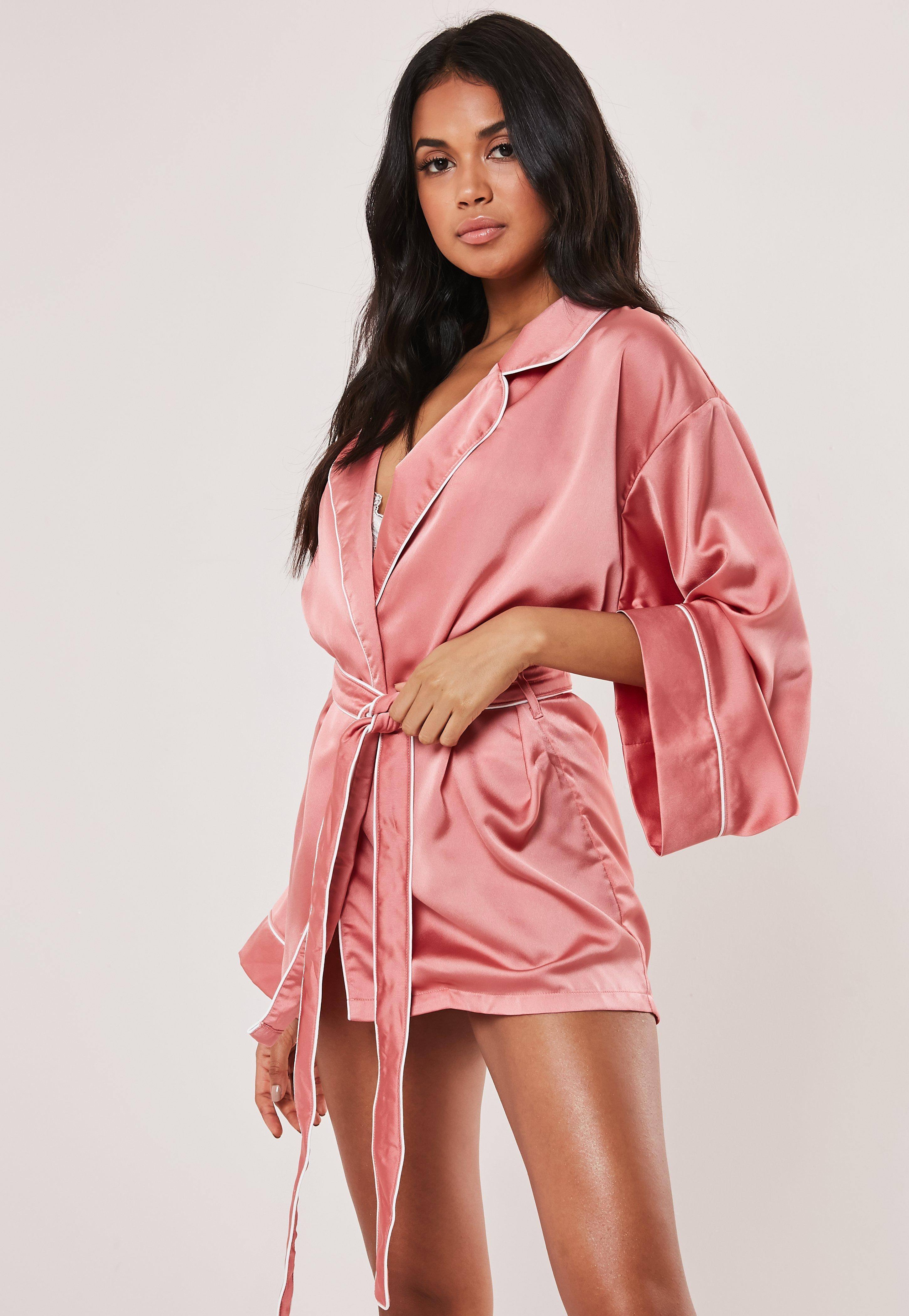 Missguided Silk Pink Satin Piped Kimono Dressing Gown Lyst