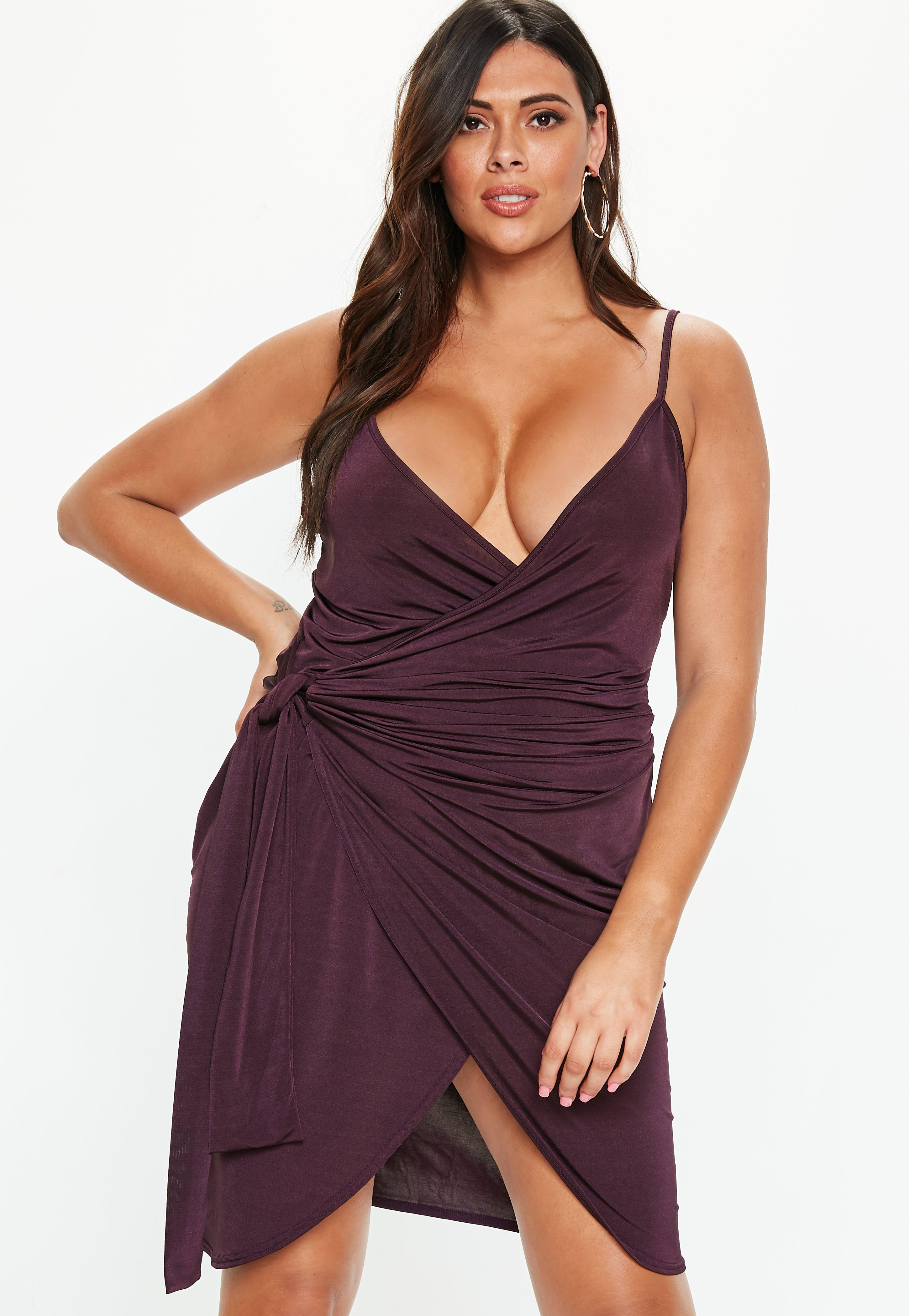 Plus Size Plum Wrap Cami Dress