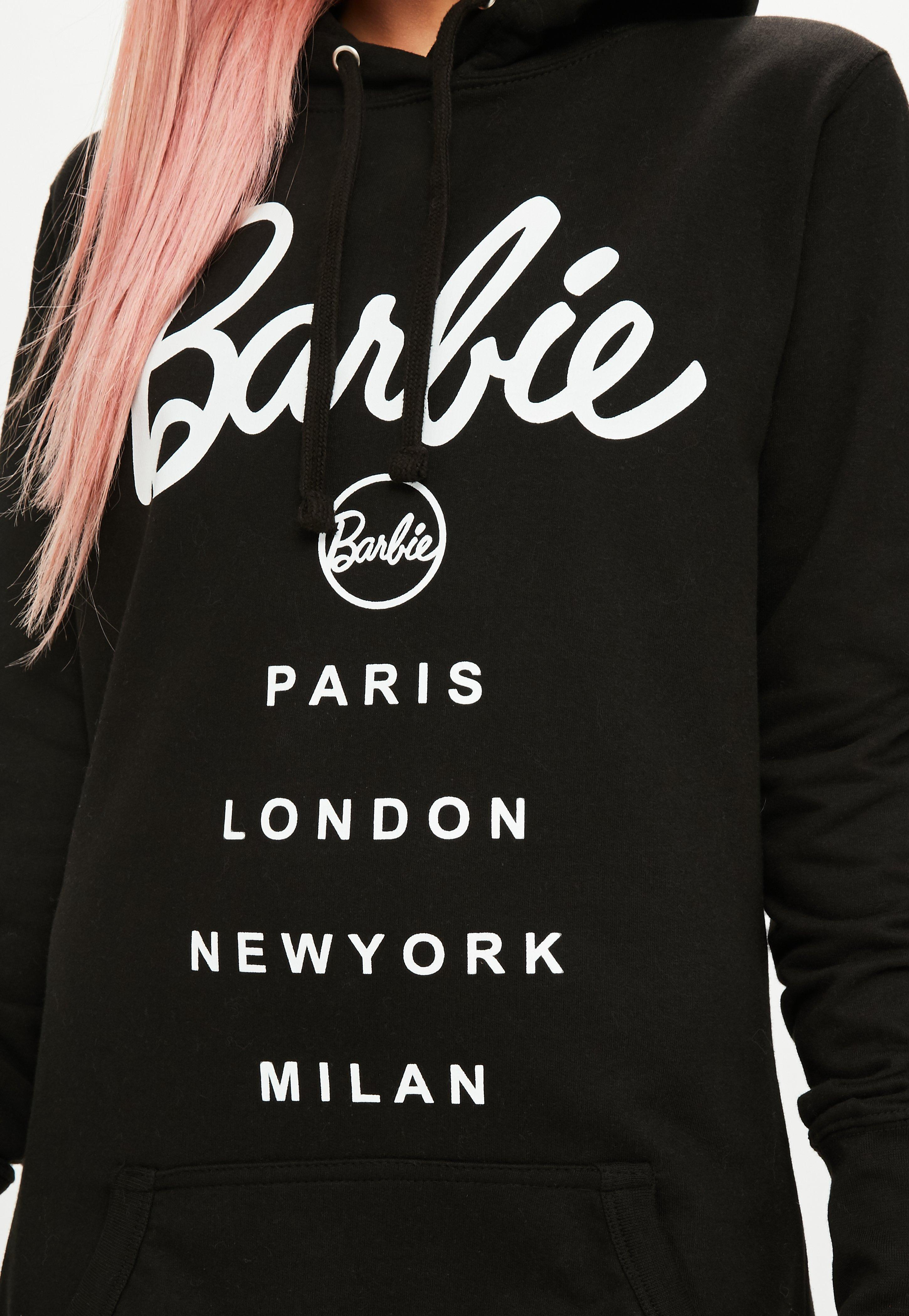 595308c219 Lyst - Missguided Barbie X Black Hooded Sweater Dress in Black