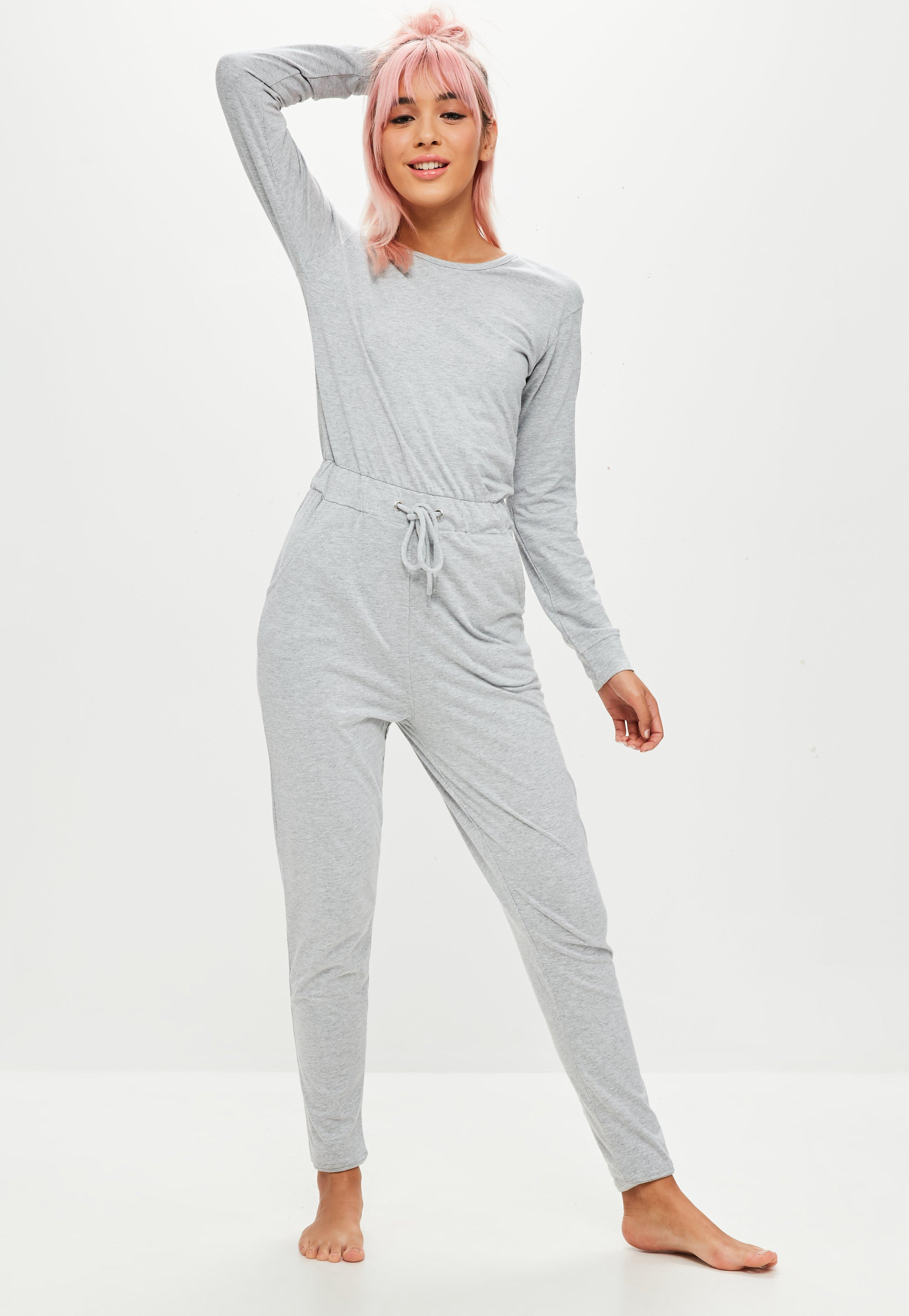 6bca92acaf87 Lyst - Missguided Grey Long Sleeve Jumpsuit in Gray