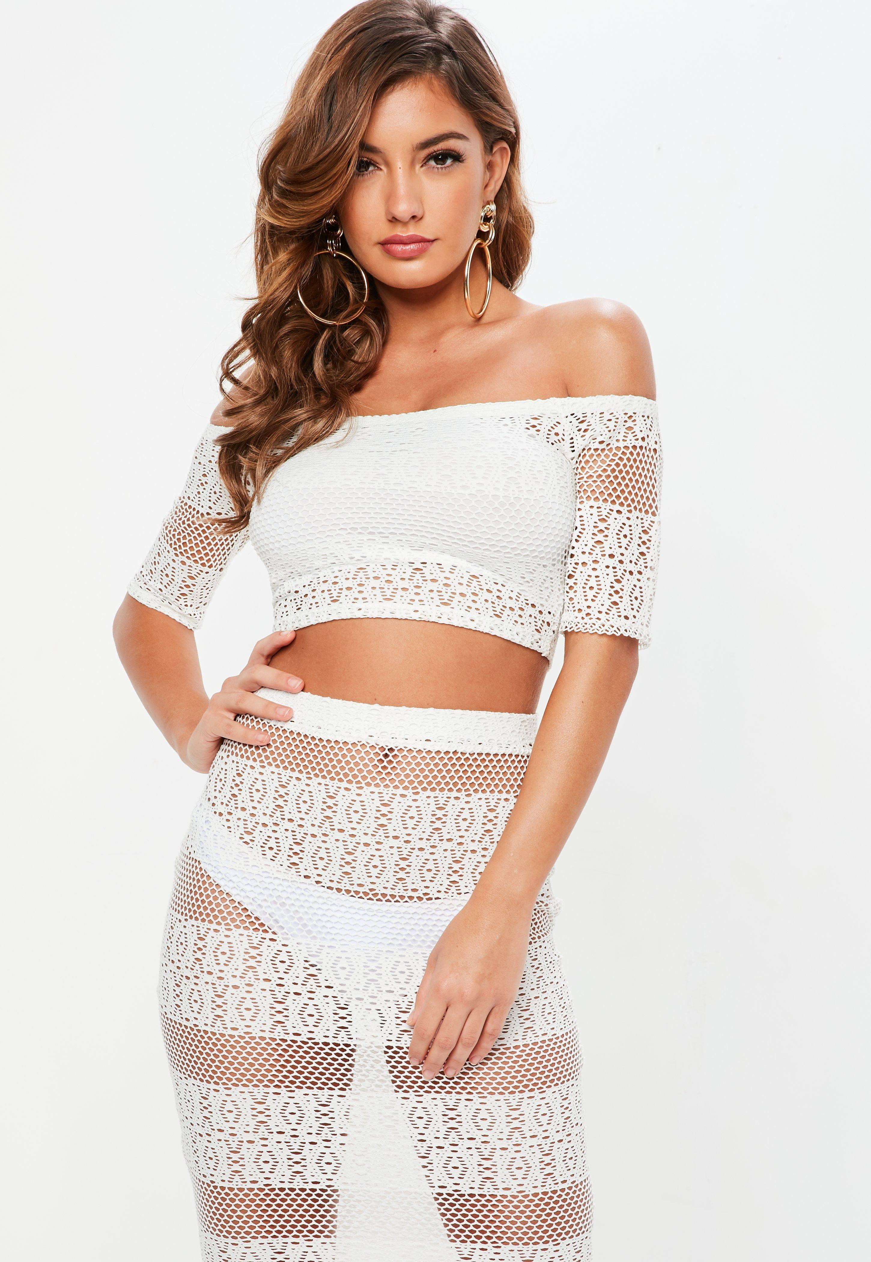 0db661726f916 Missguided Petite White Crochet Bardot Top in White - Lyst