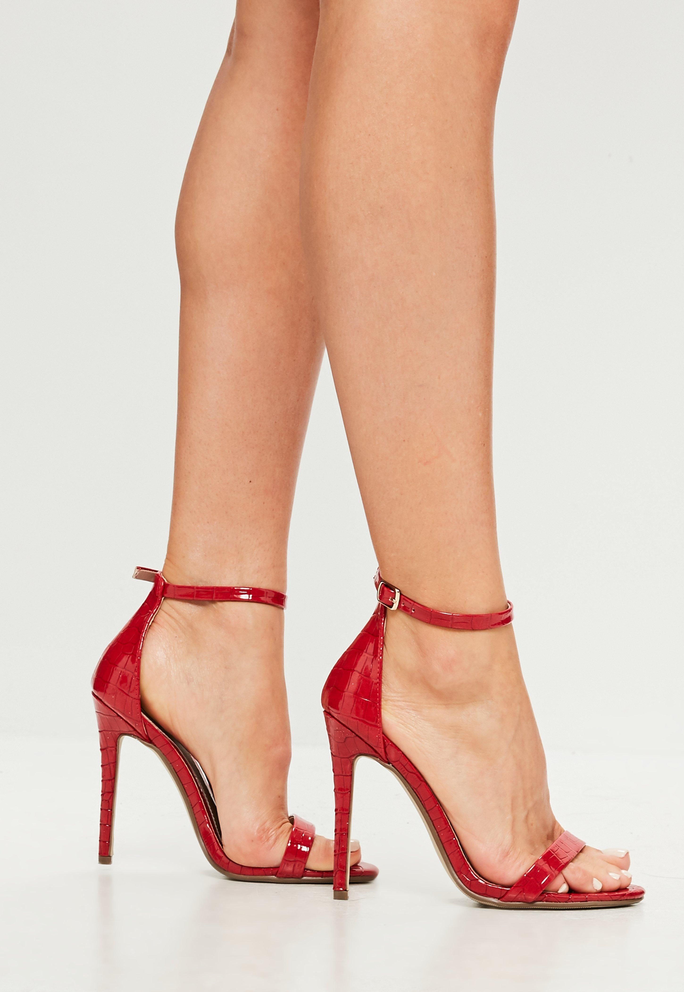 c6d0e37a4ff2 Lyst - Missguided Red Two Strap Croc Barely There Heels in Red