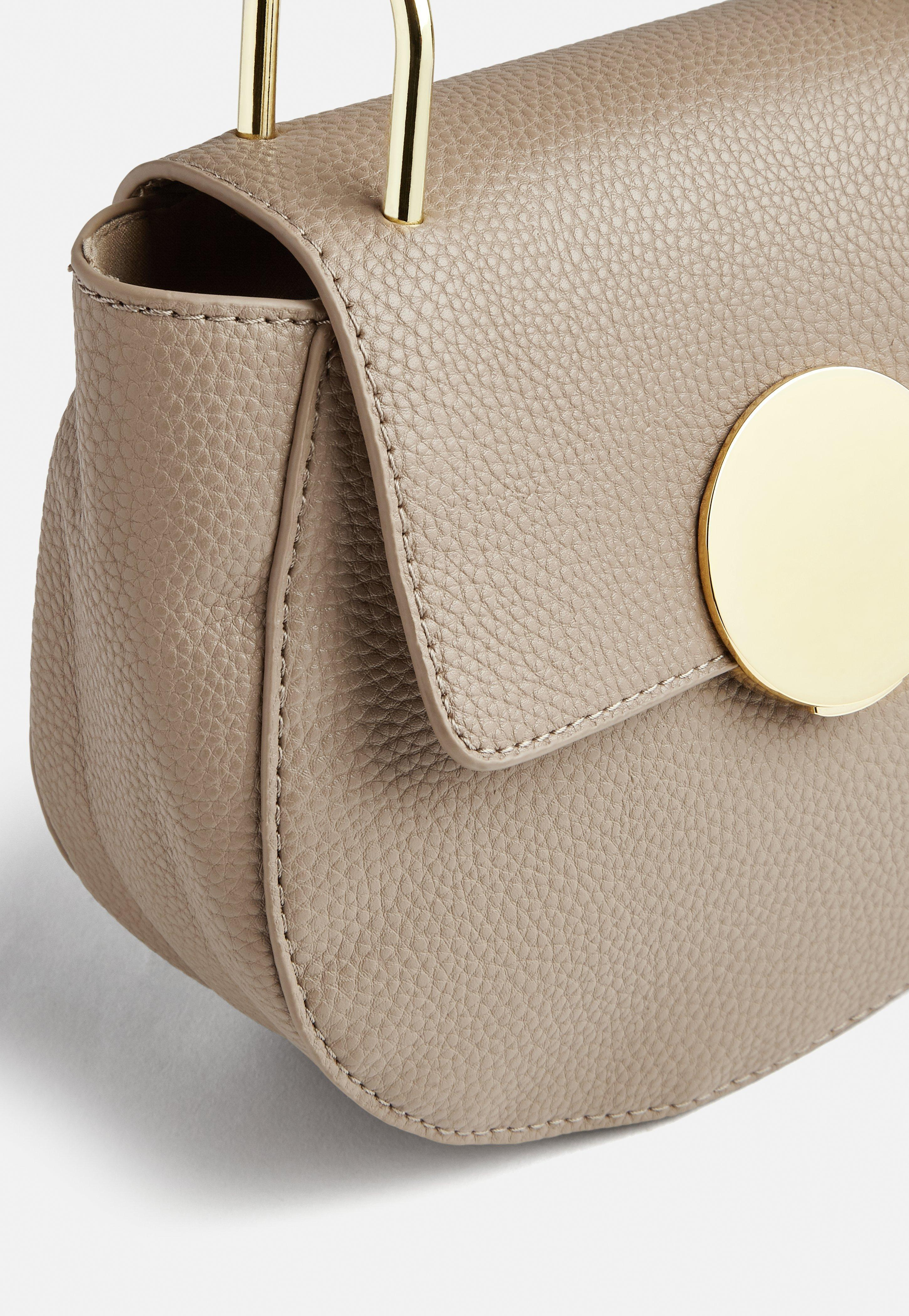 Missguided Nude Round Buckle Cross Body Bag in Natural